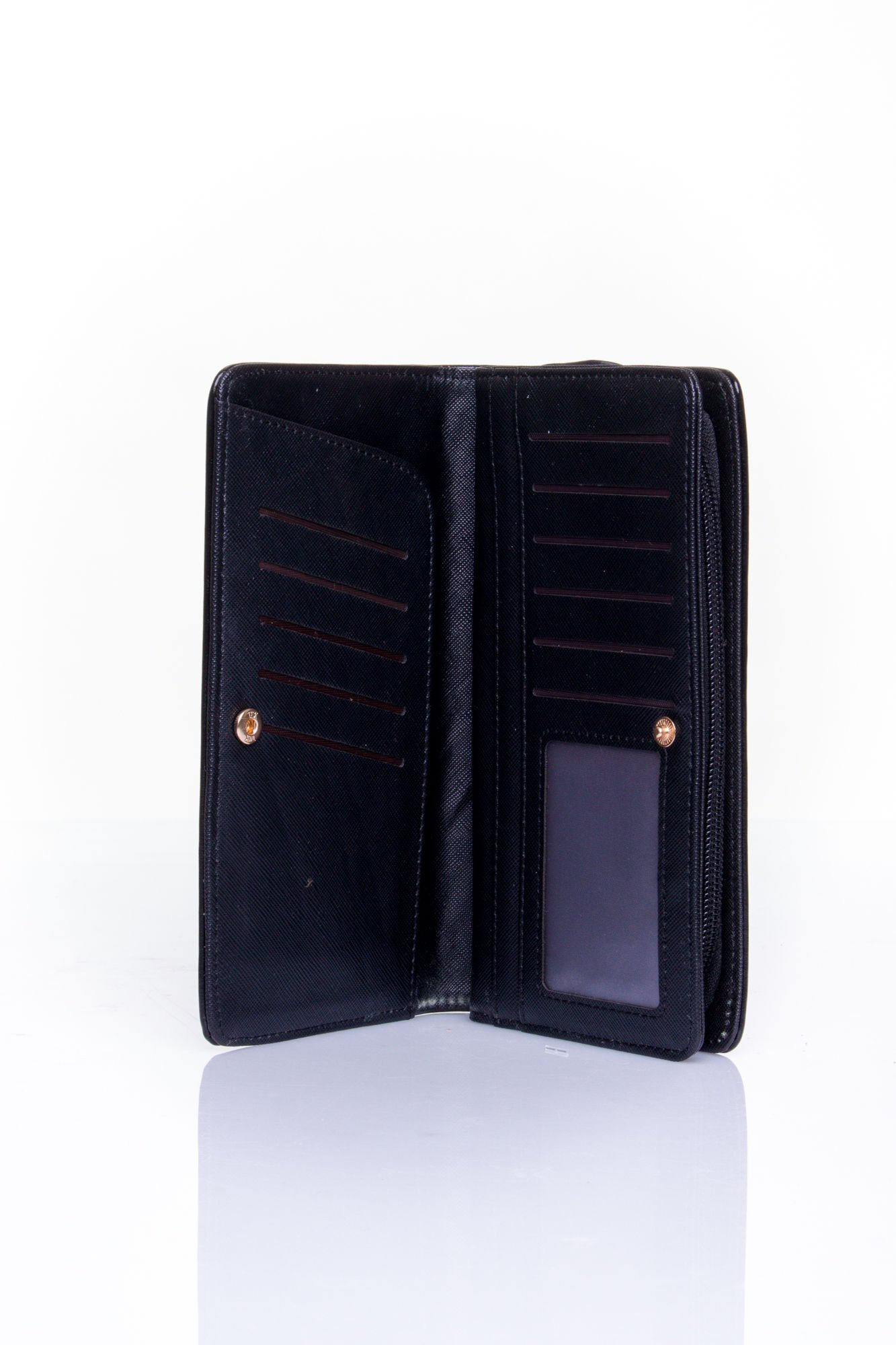 Czarny pikowany portfel z kwiatowym tłoczeniem                                  zdj.                                  4