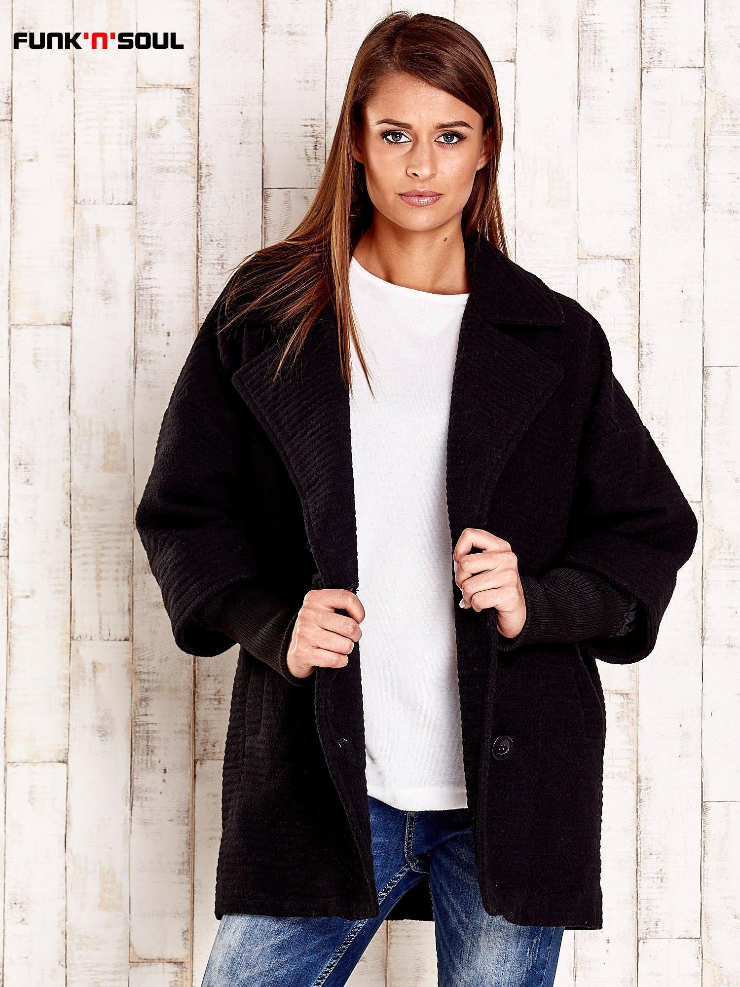 Czarny płaszcz oversize FUNK N SOUL                                  zdj.                                  5