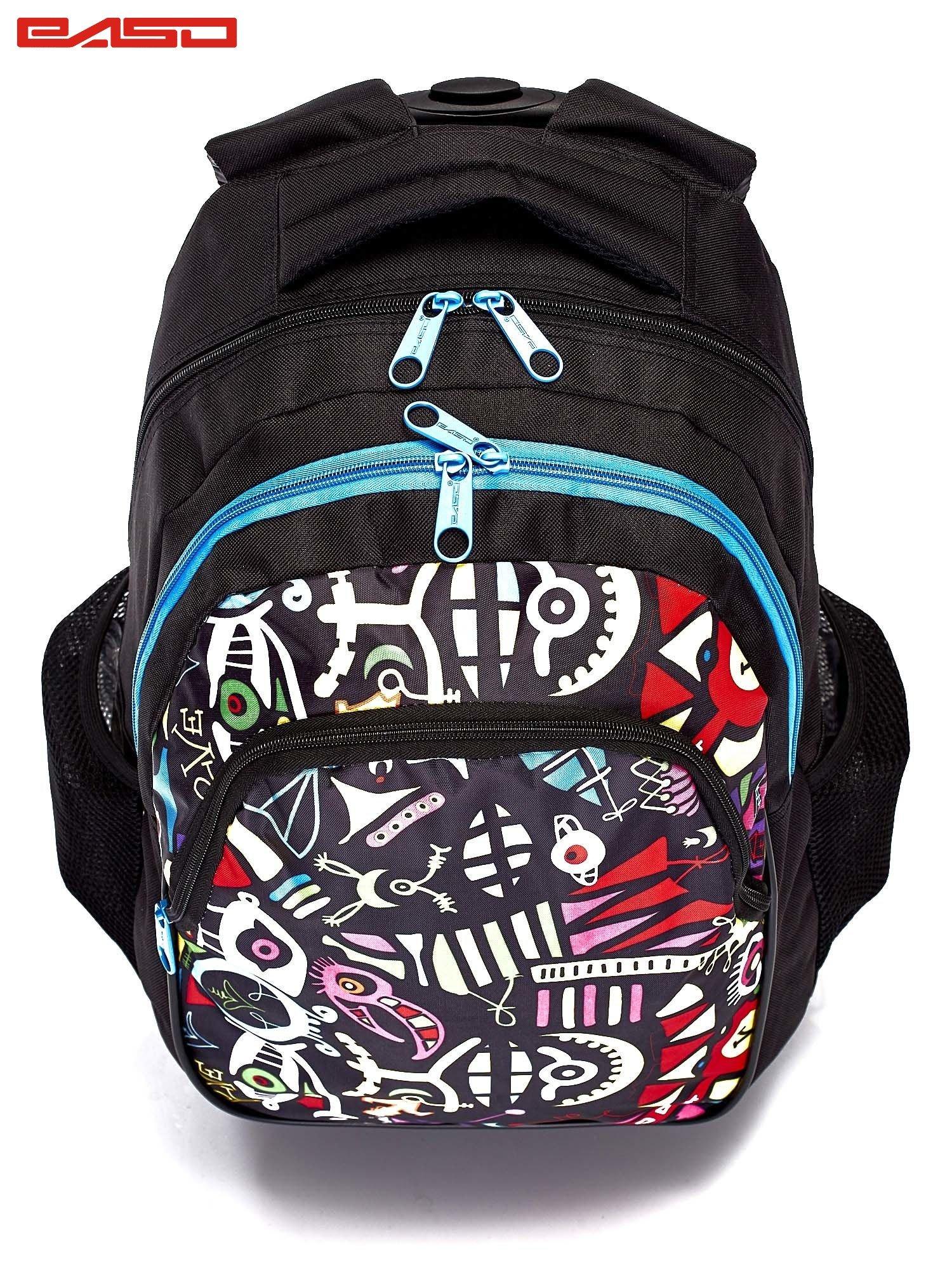 9da5522f4c902 GRATIS!!! Czarny plecak szkolny na kółkach z kolorowym nadrukiem ...