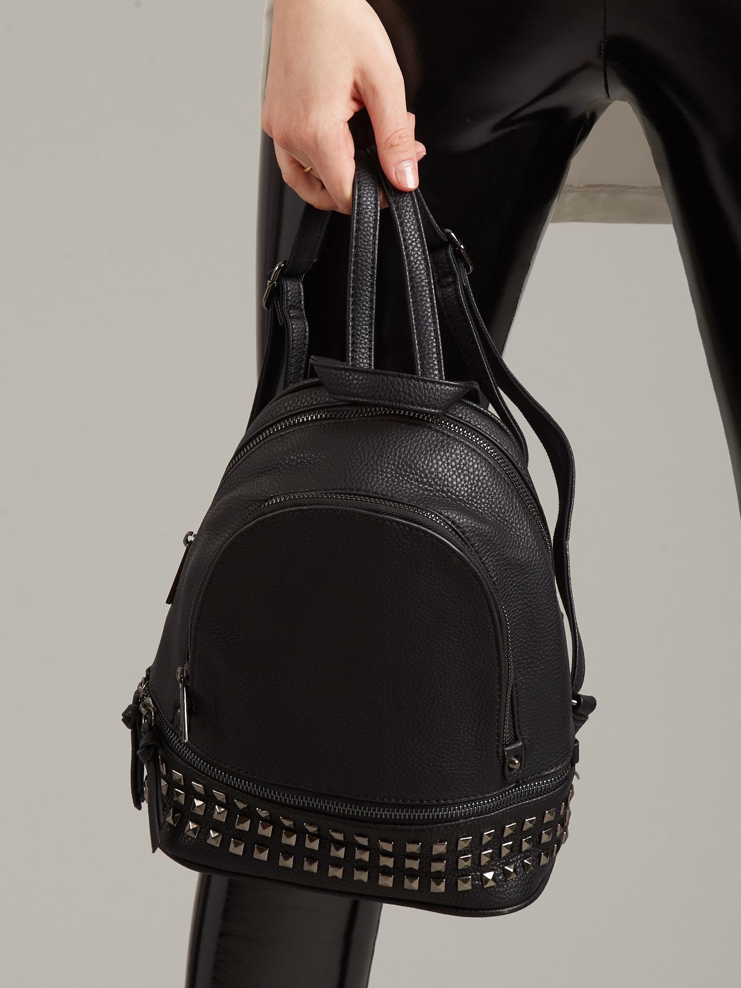 0f02729998311 Czarny plecak ze skóry ekologicznej - Akcesoria plecaki - sklep ...