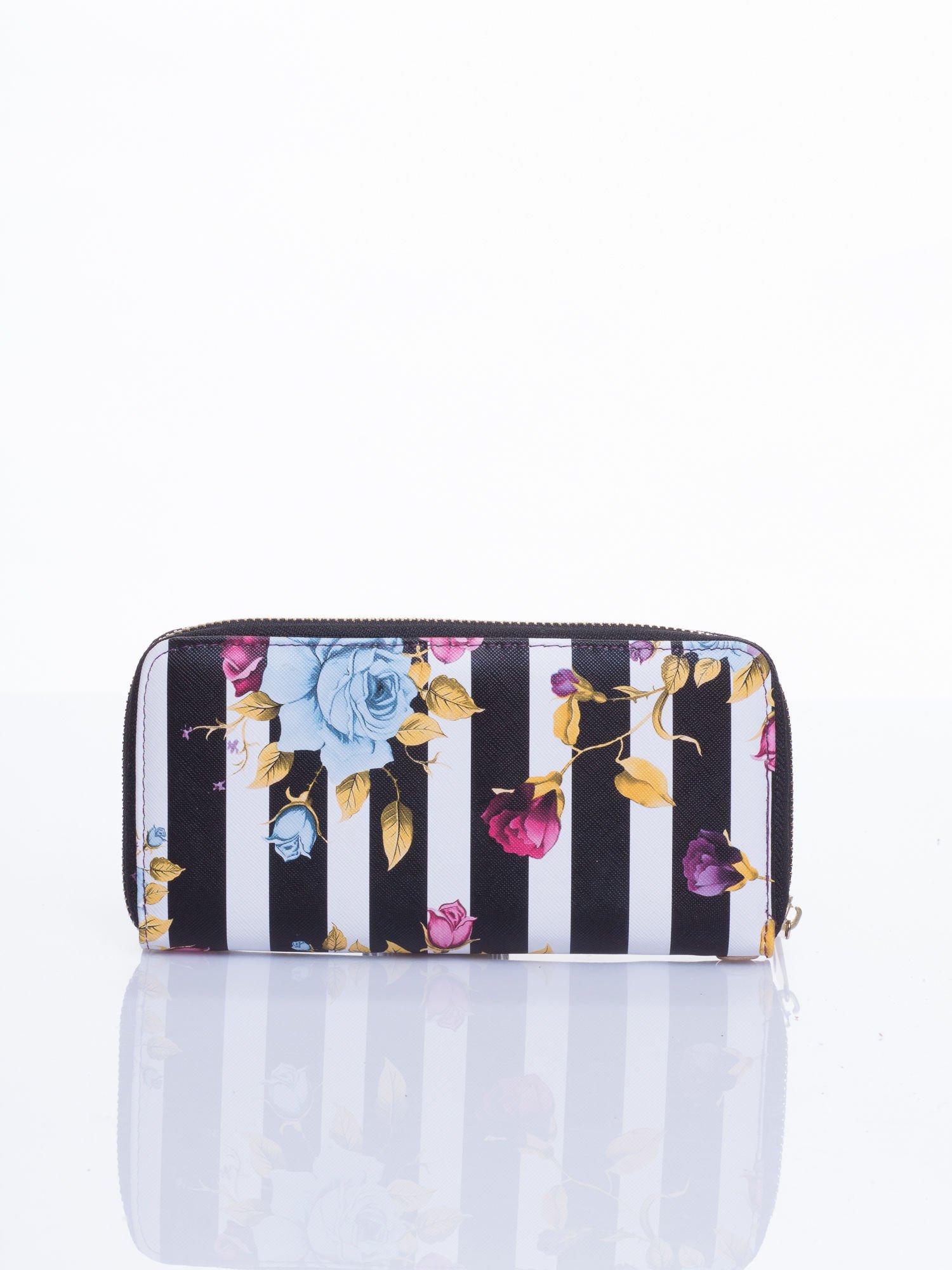 Czarny portfel w kwiaty efekt saffiano                                  zdj.                                  2