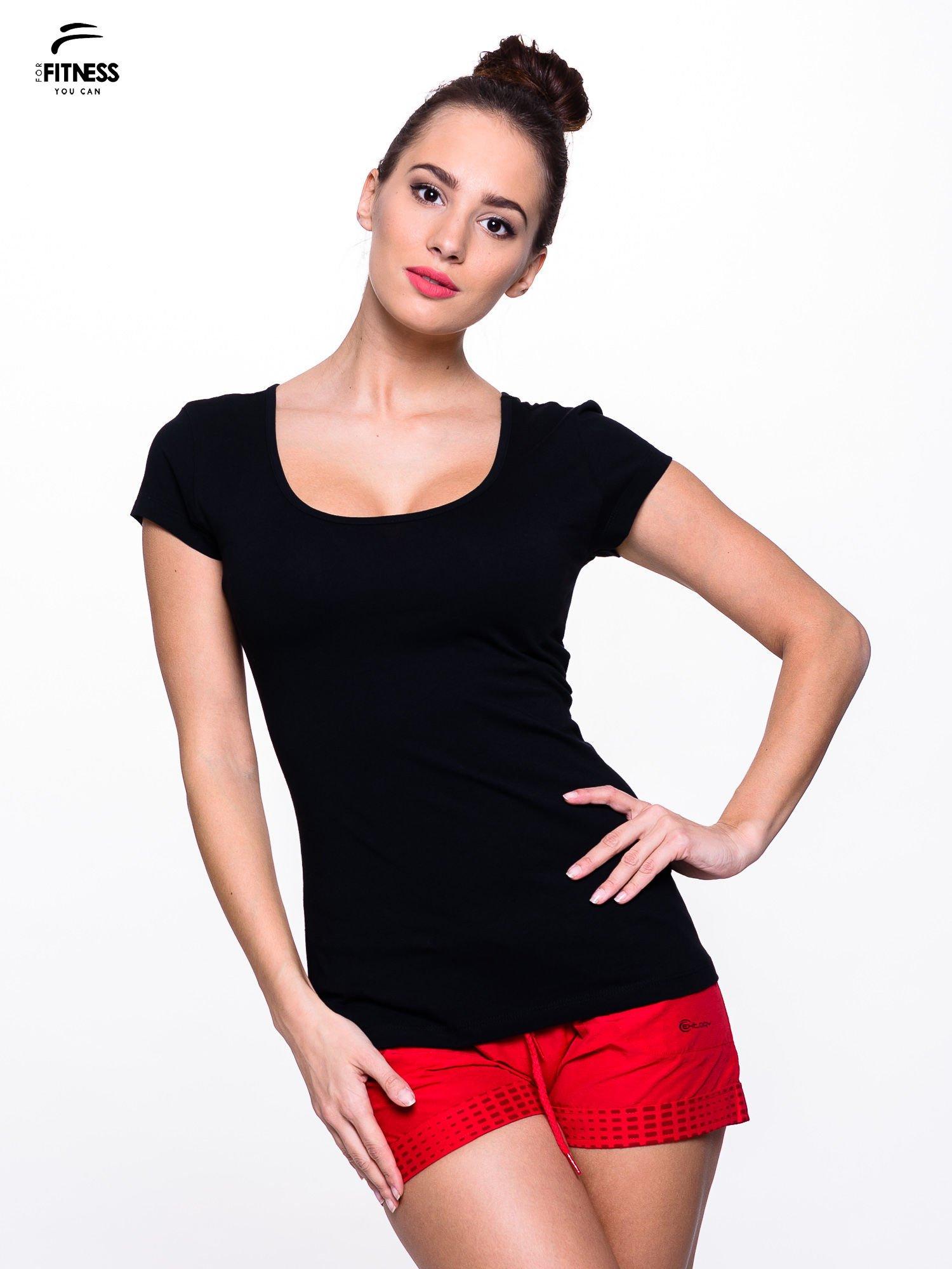 Czarny prosty t-shirt sportowy                                  zdj.                                  1
