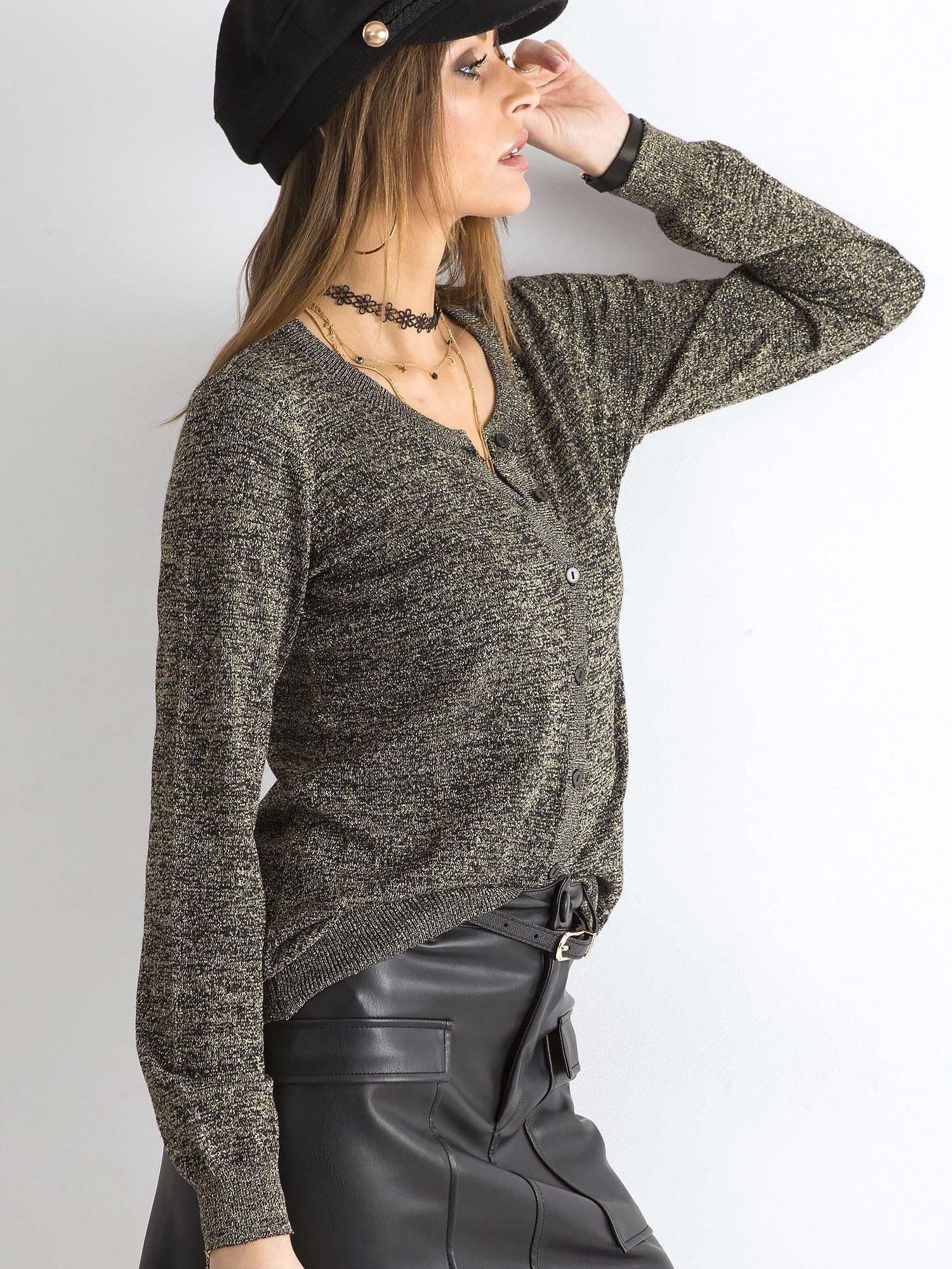 Czarny rozpinany sweter z błyszczącą nitką
