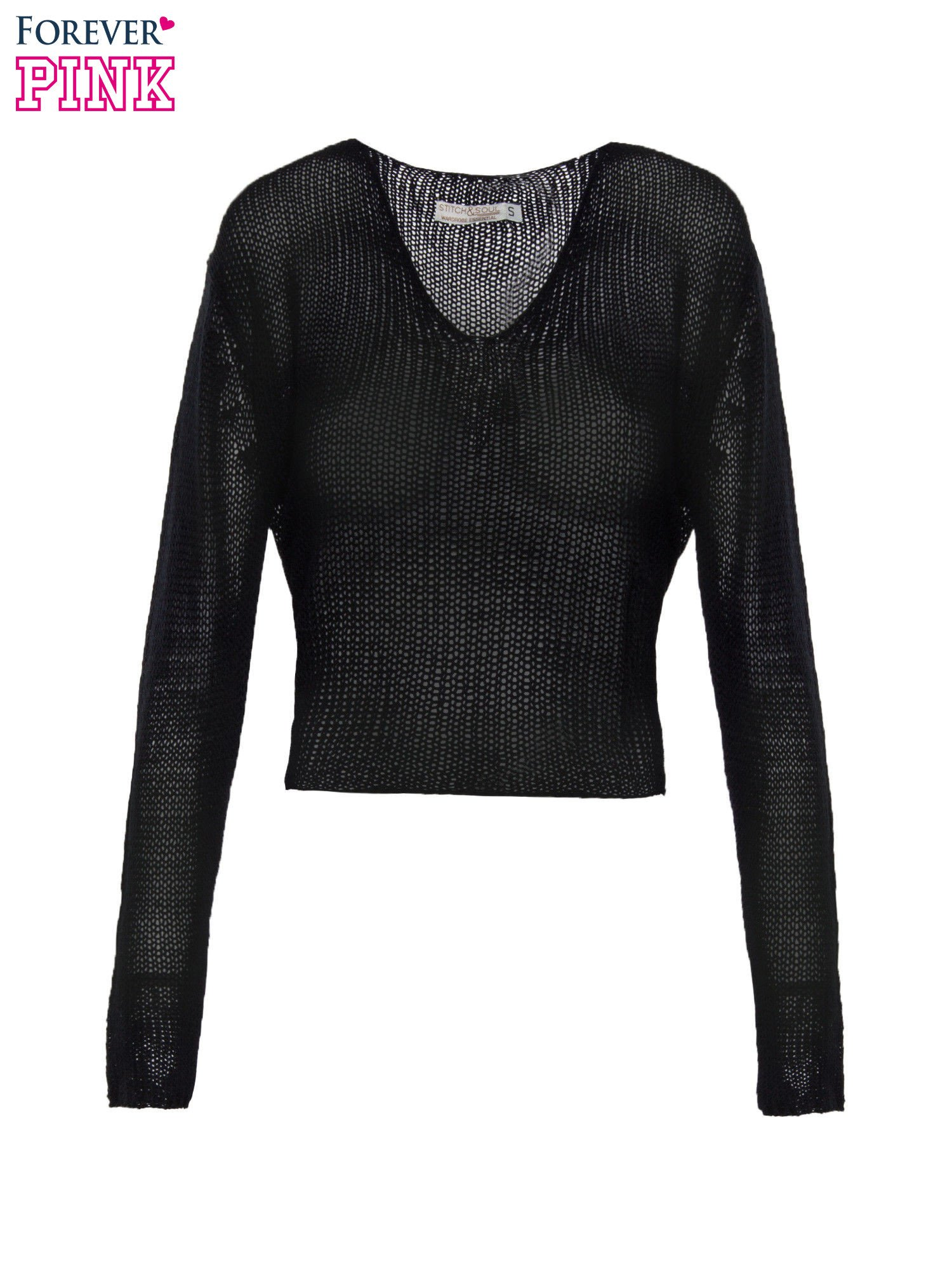 Czarny siatkowy sweter typu crop top                                  zdj.                                  2