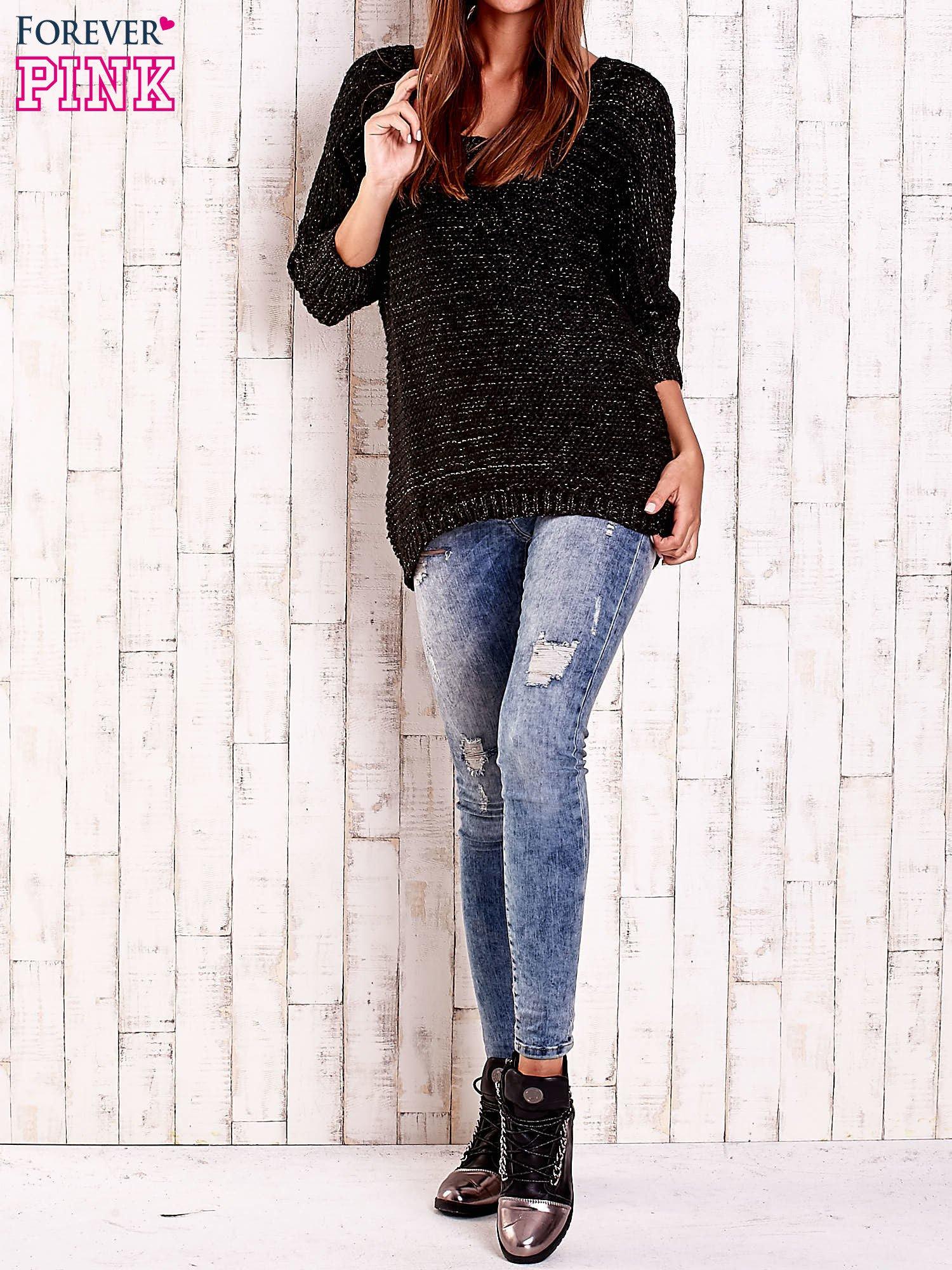 Czarny sweter z metaliczną nicią FUNK N SOUL                                  zdj.                                  2