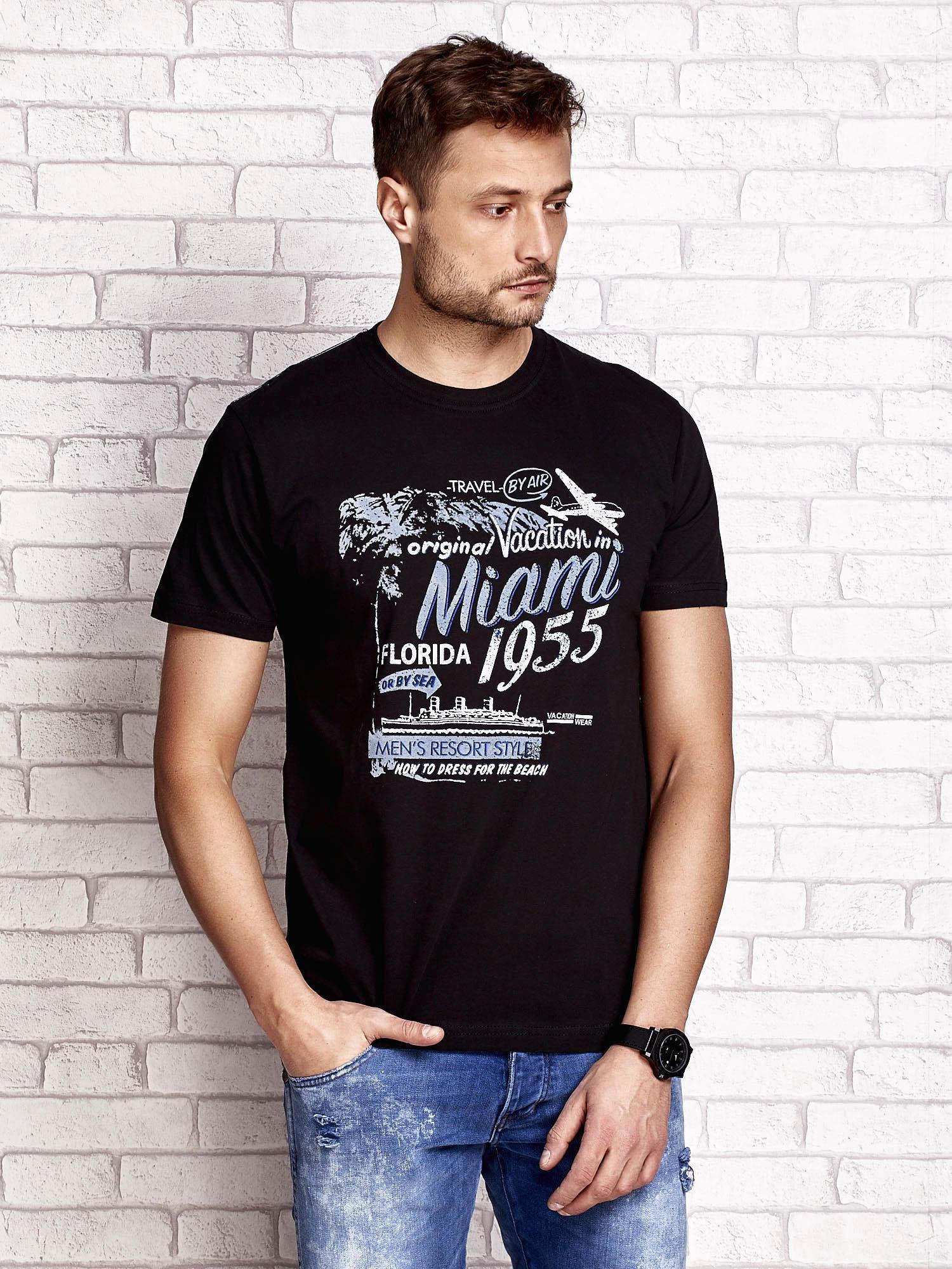 Czarny t-shirt męski z nadrukiem napisów MIAMI FLORIDA 1955                                  zdj.                                  1