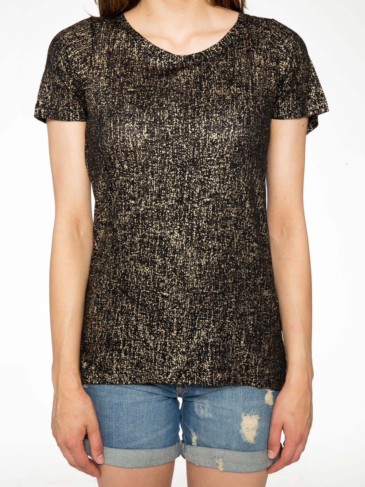 Czarny t-shirt w złote plamki                                  zdj.                                  7