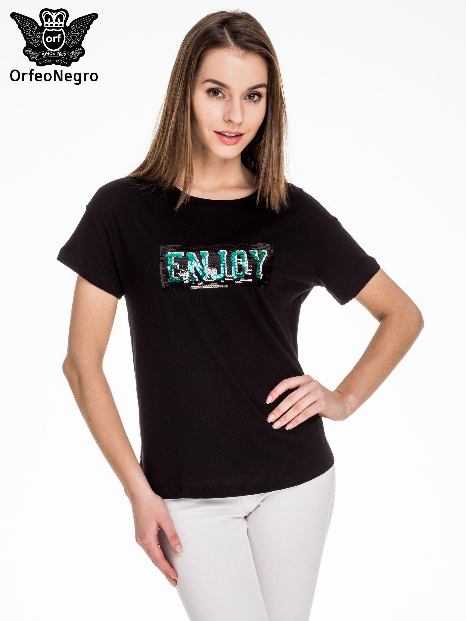 Czarny t-shirt z aplikacją ENJOY z cekinów                                  zdj.                                  1