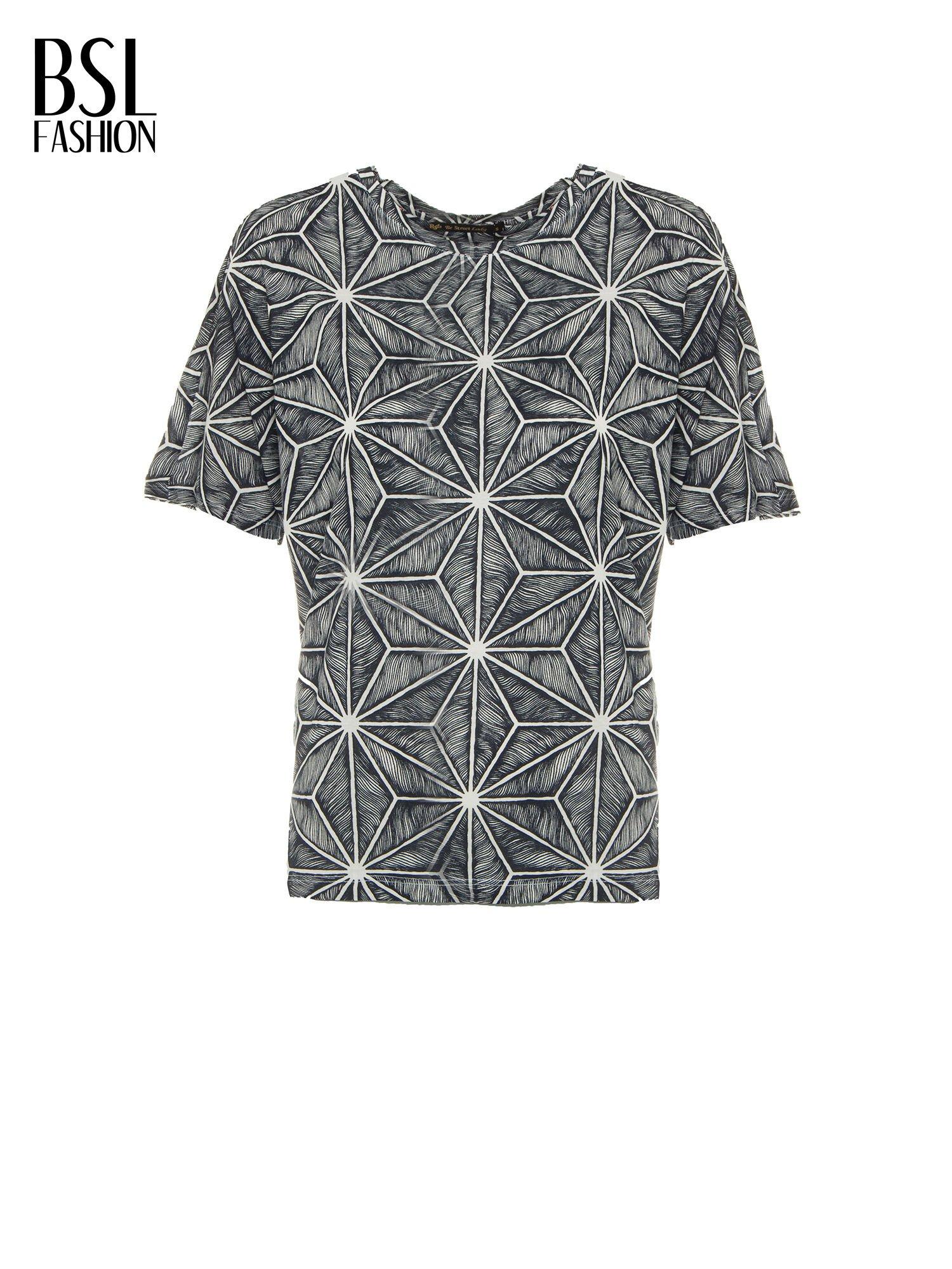 Czarny t-shirt z geometrycznym nadrukiem roślinnym                                  zdj.                                  2