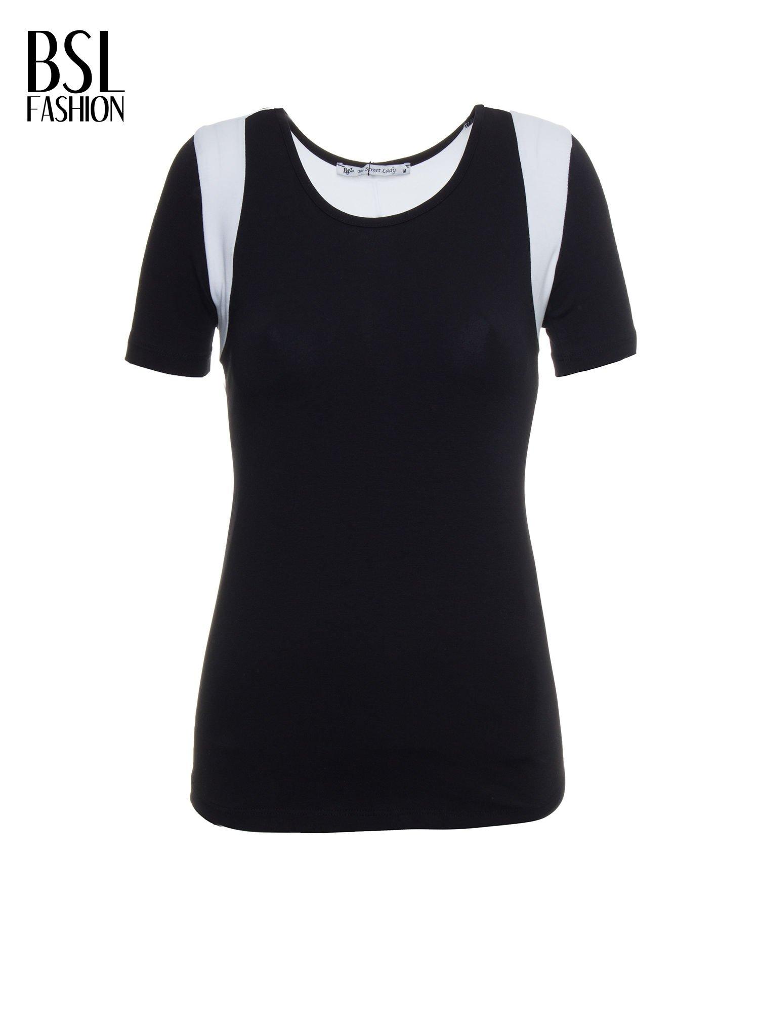 Czarny t-shirt z kontrastowym panelem na plecach                                  zdj.                                  7