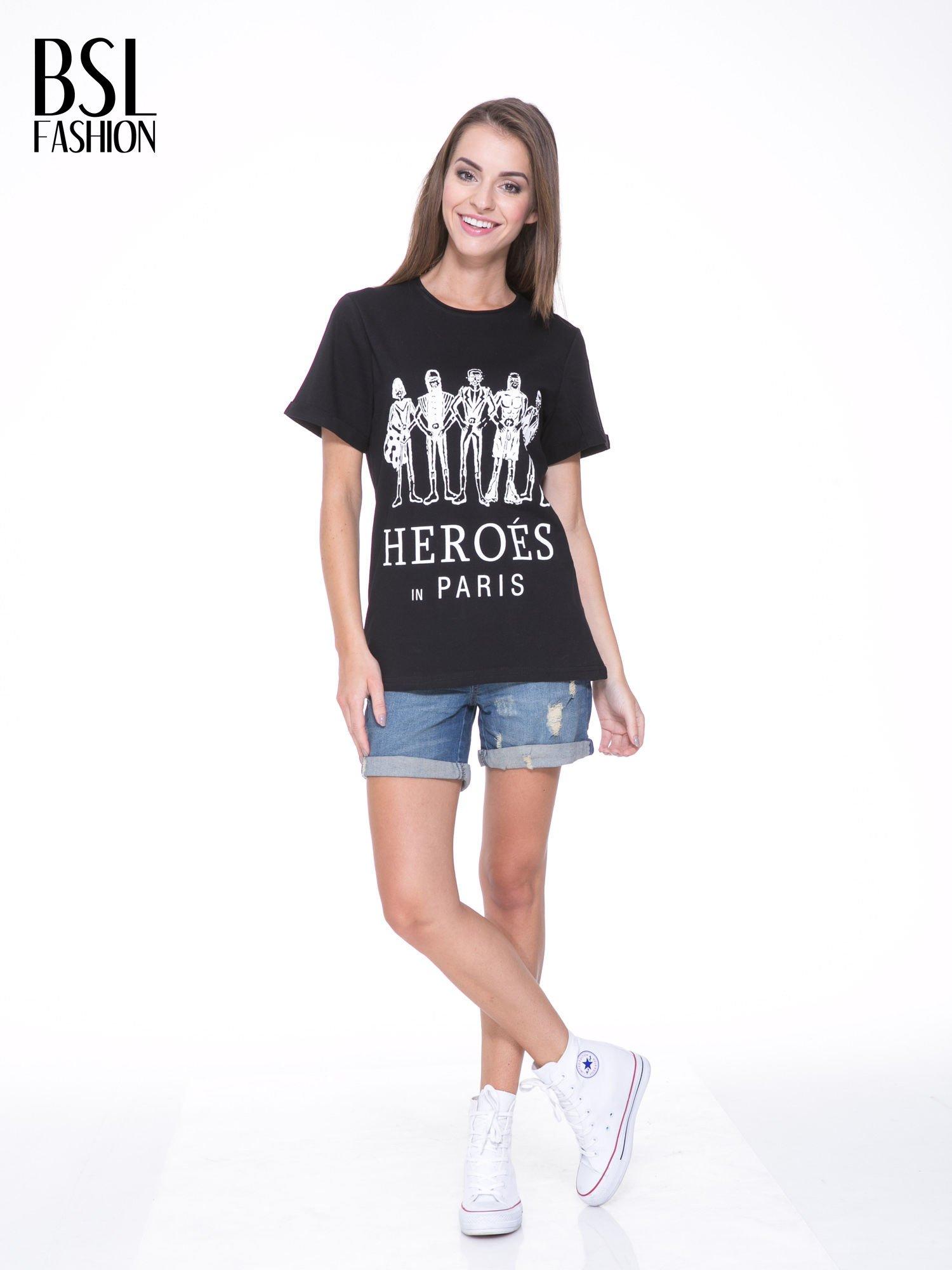 Czarny t-shirt z nadrukiem HEROÉS IN PARIS                                  zdj.                                  5