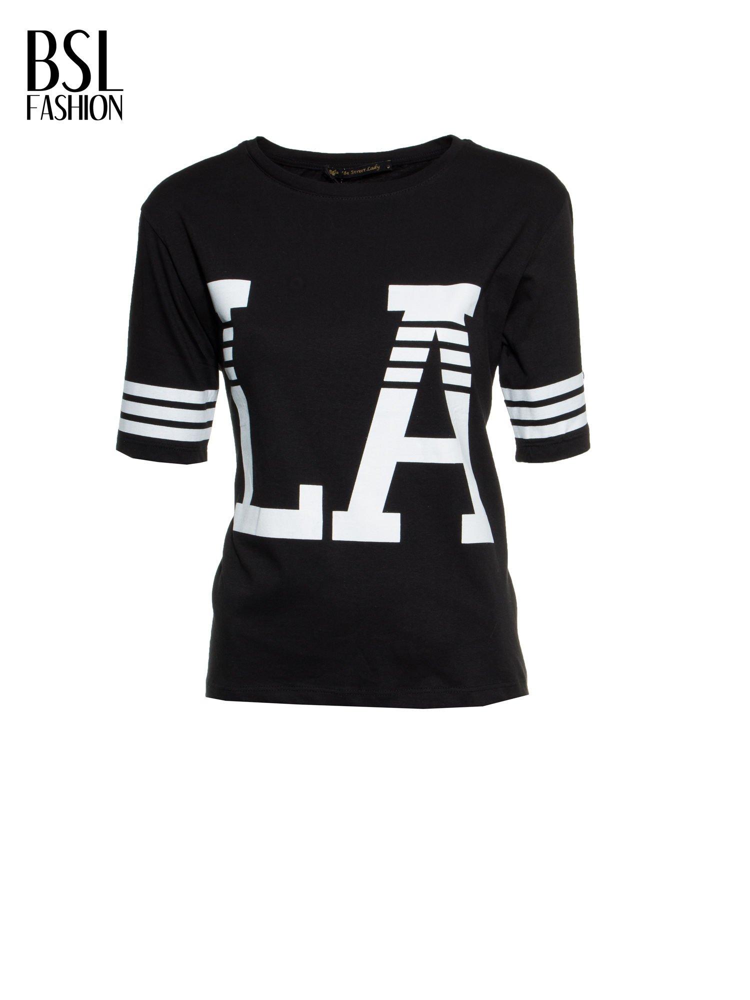 Czarny t-shirt z nadrukiem LA w baseballowym stylu                                  zdj.                                  2