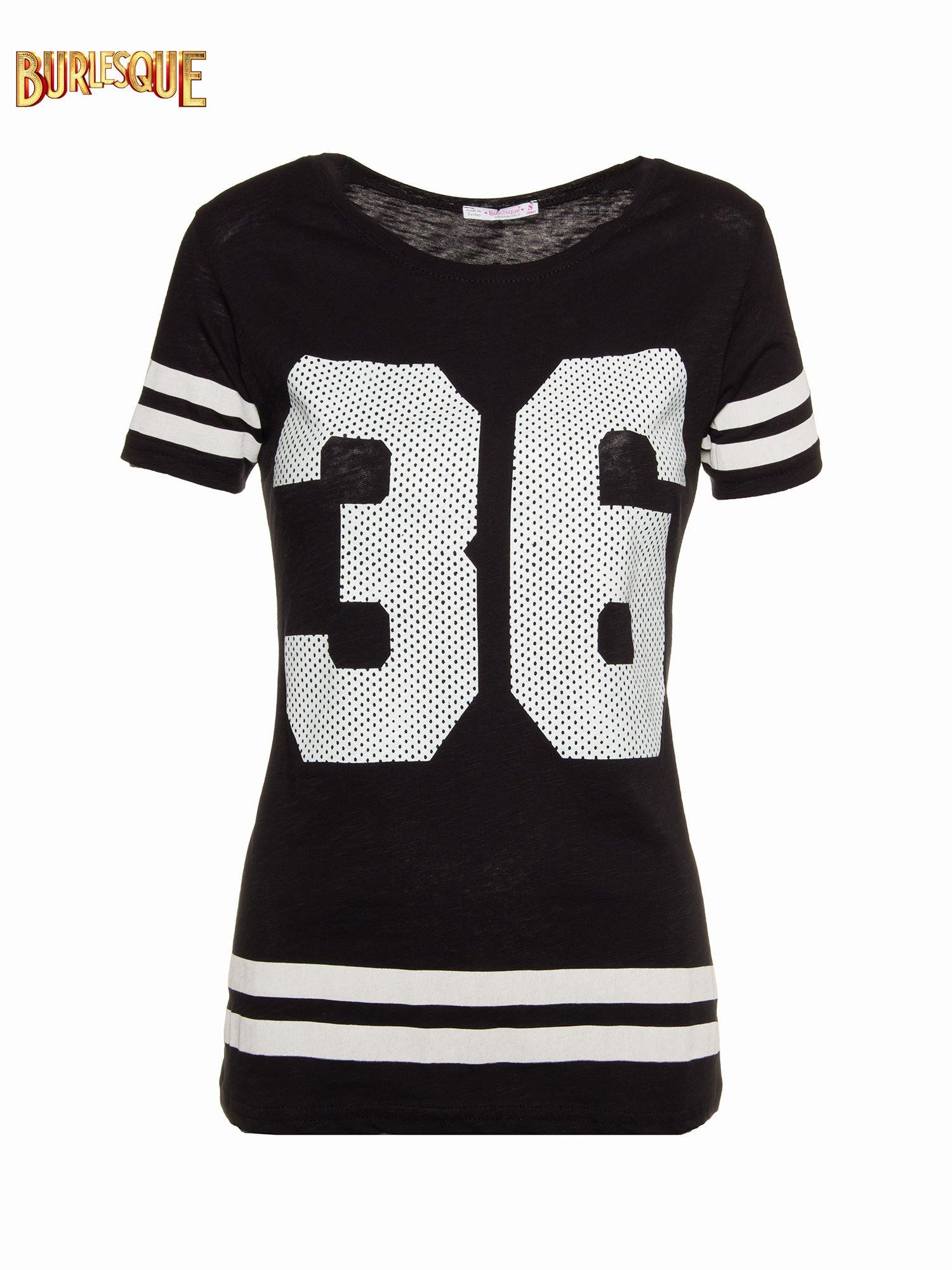 Czarny t-shirt z nadrukiem numerycznym w stylu baseball                                  zdj.                                  1