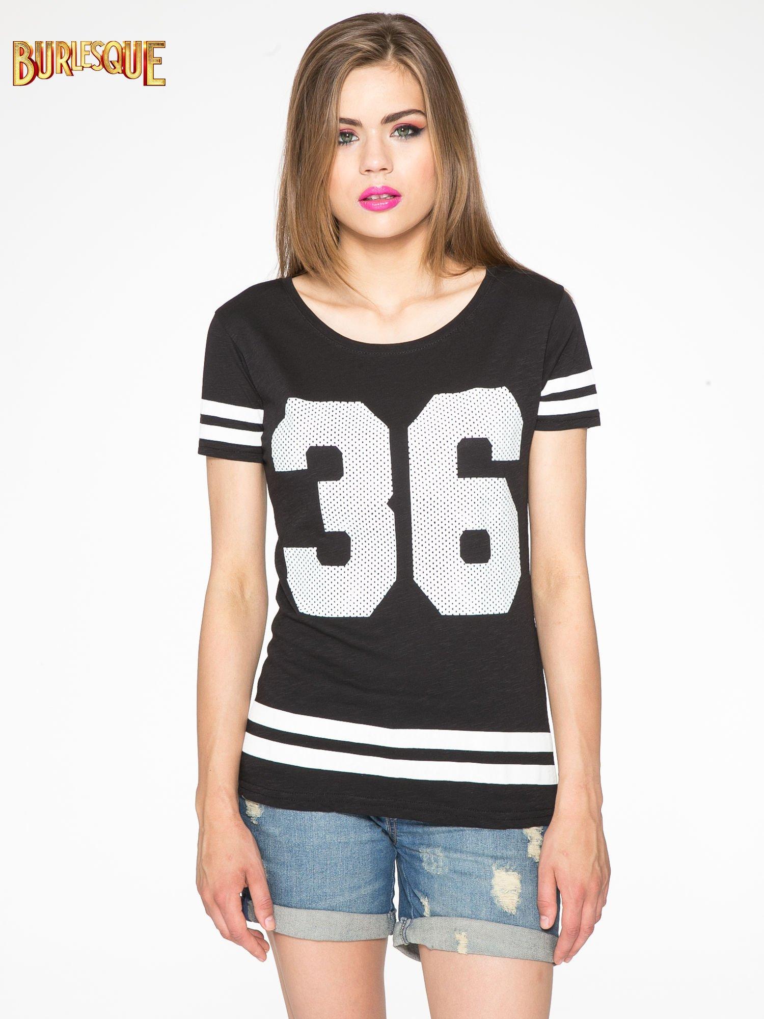 Czarny t-shirt z nadrukiem numerycznym w stylu baseball                                  zdj.                                  12