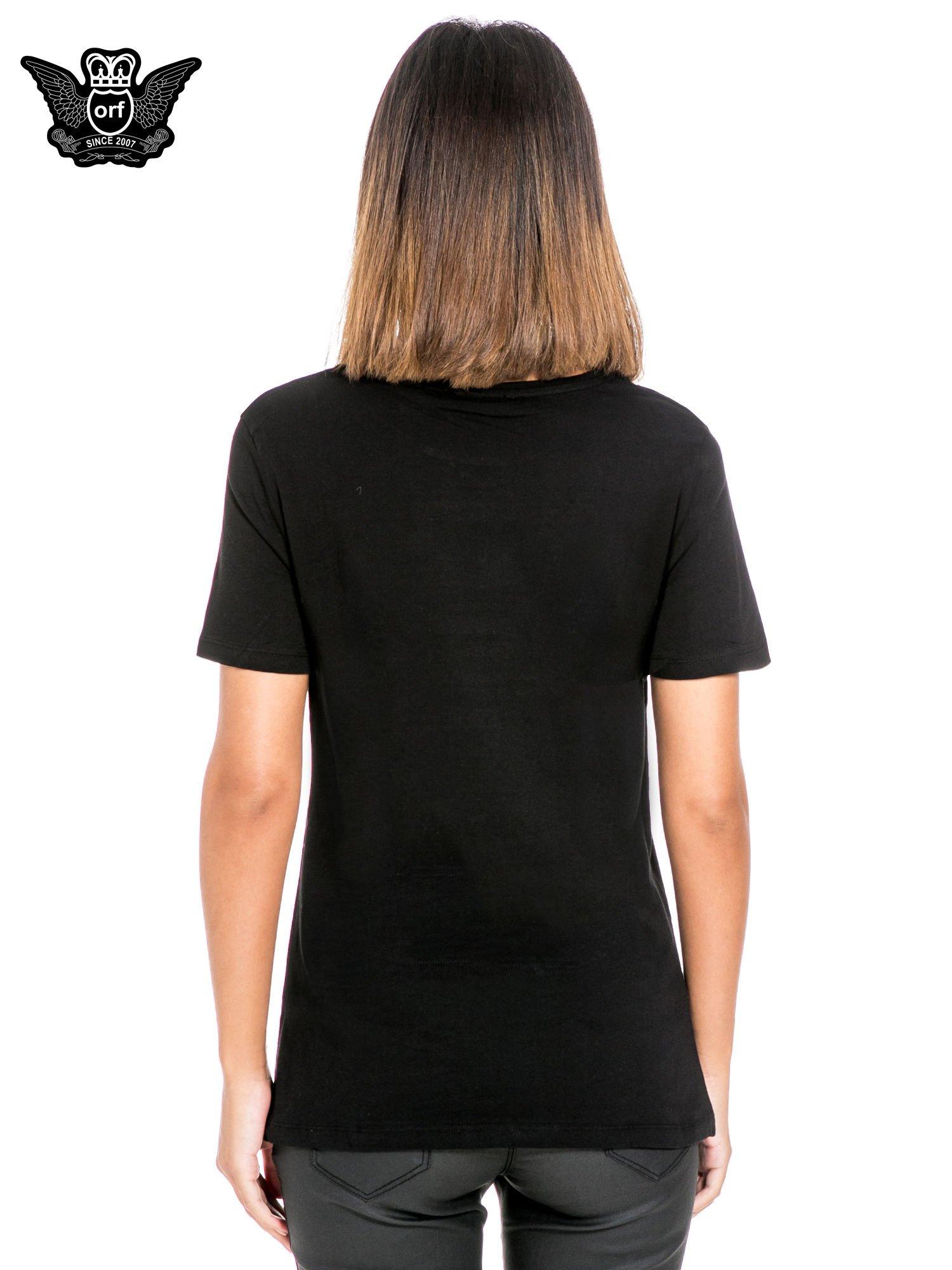Czarny t-shirt z nadrukiem so-so smile                                  zdj.                                  4