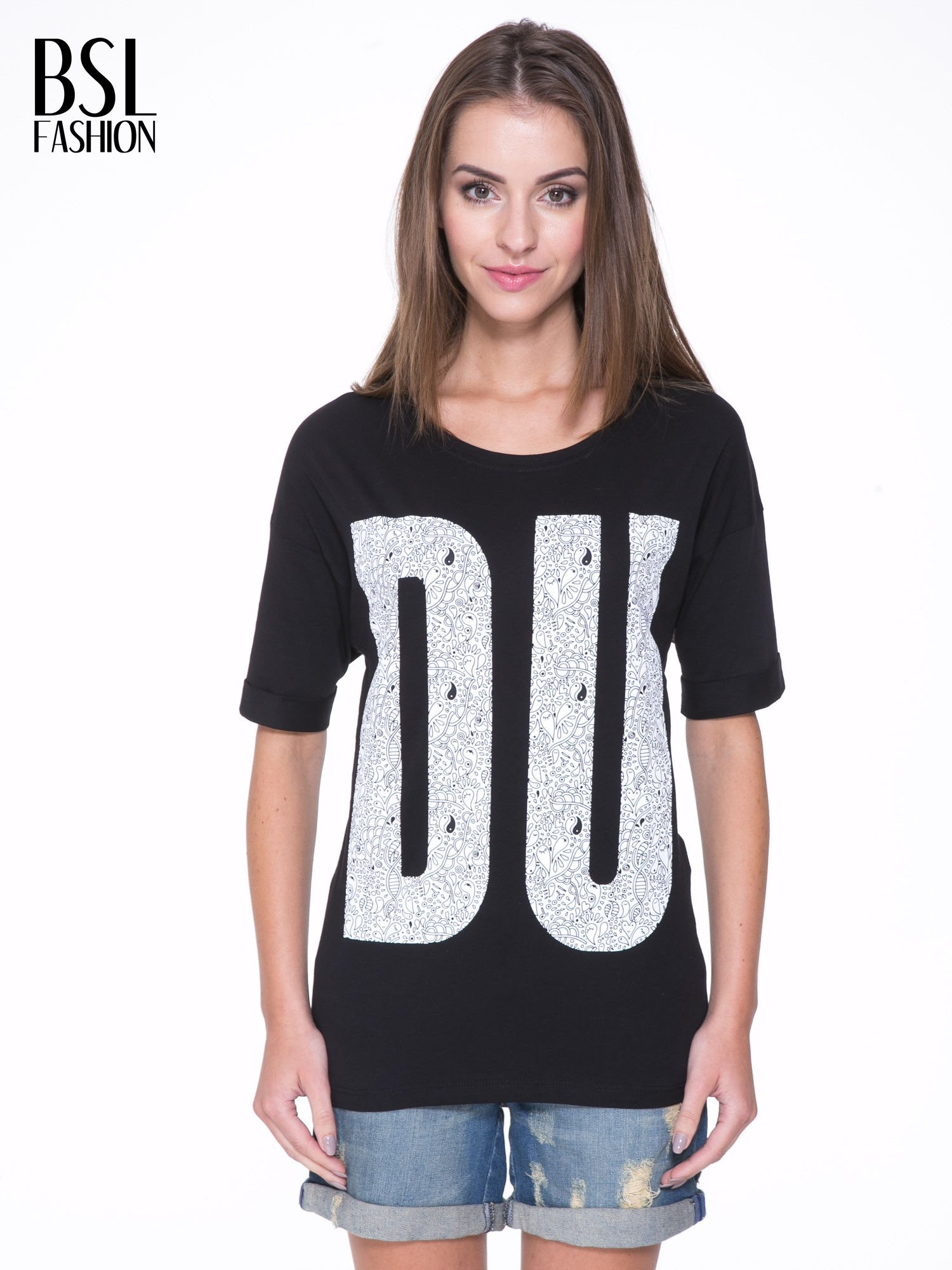 Czarny t-shirt z nadukiem DUDE z przodu i na plecach                                  zdj.                                  1
