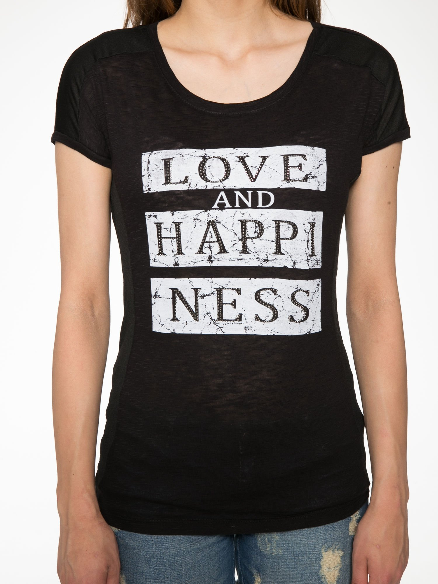 Czarny t-shirt z napisem LOVE AND HAPPINESS                                  zdj.                                  7