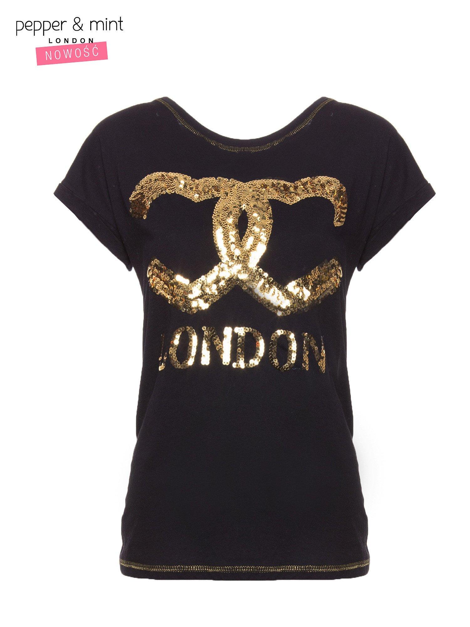 Czarny t-shirt z sercami z cekinów i nadrukiem LONDON                                  zdj.                                  4