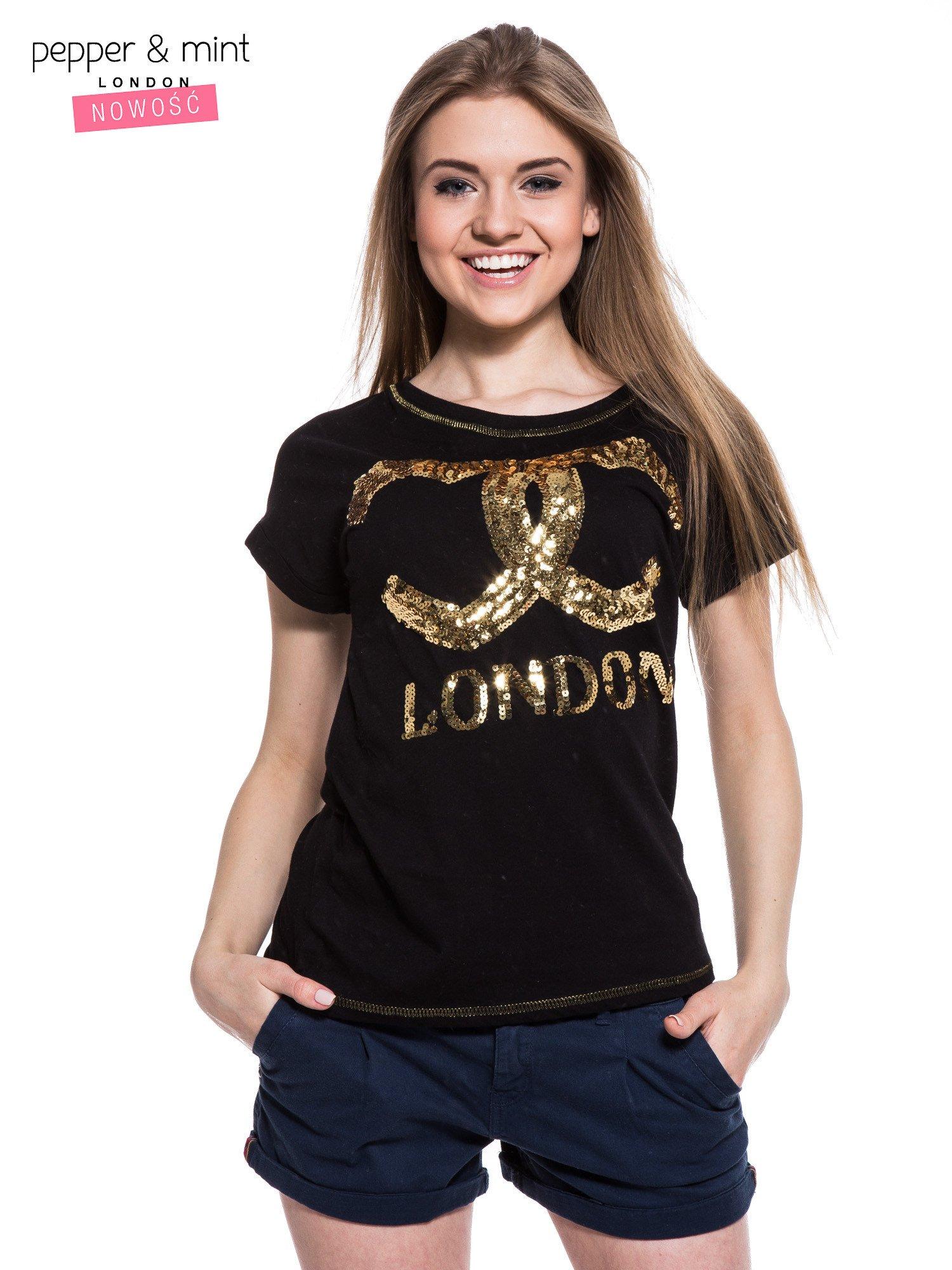 Czarny t-shirt z sercami z cekinów i nadrukiem LONDON                                  zdj.                                  1