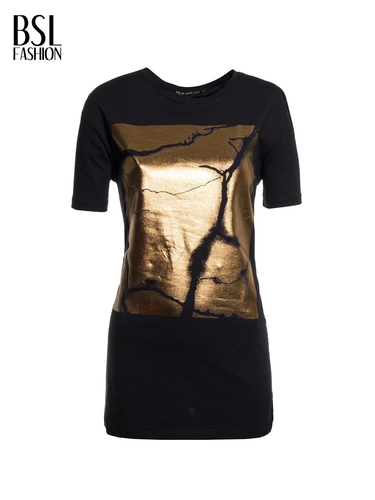 Czarny t-shirt ze złotą grafiką                                  zdj.                                  2