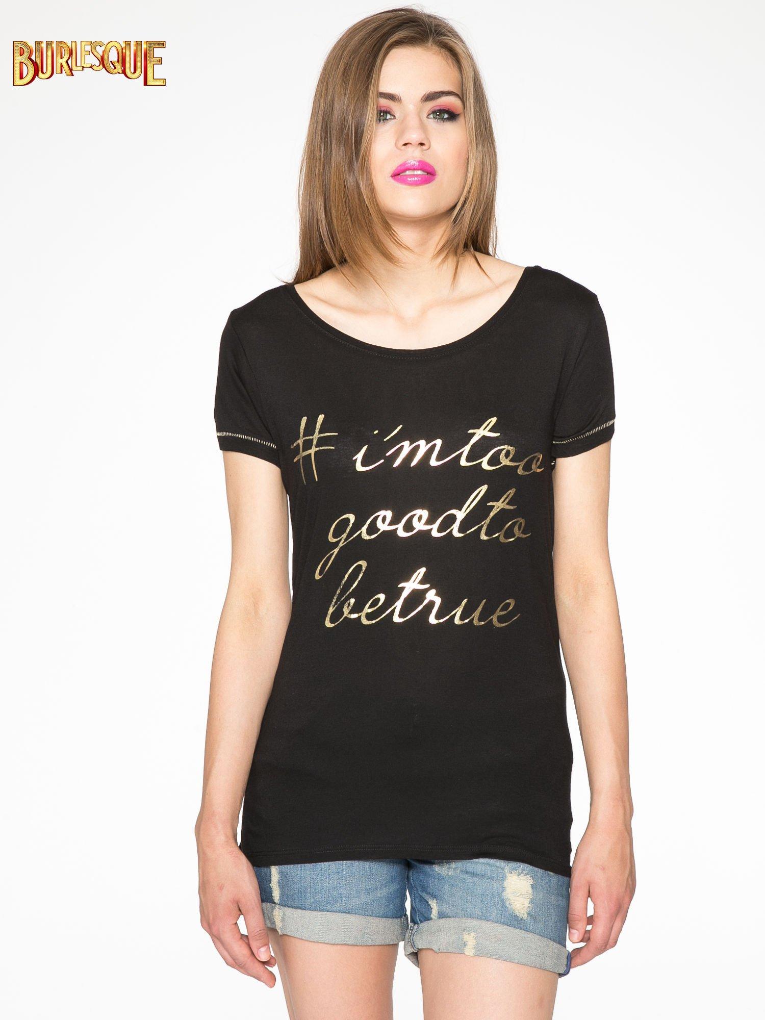 Czarny t-shirt ze złotym hasztagiem                                  zdj.                                  11