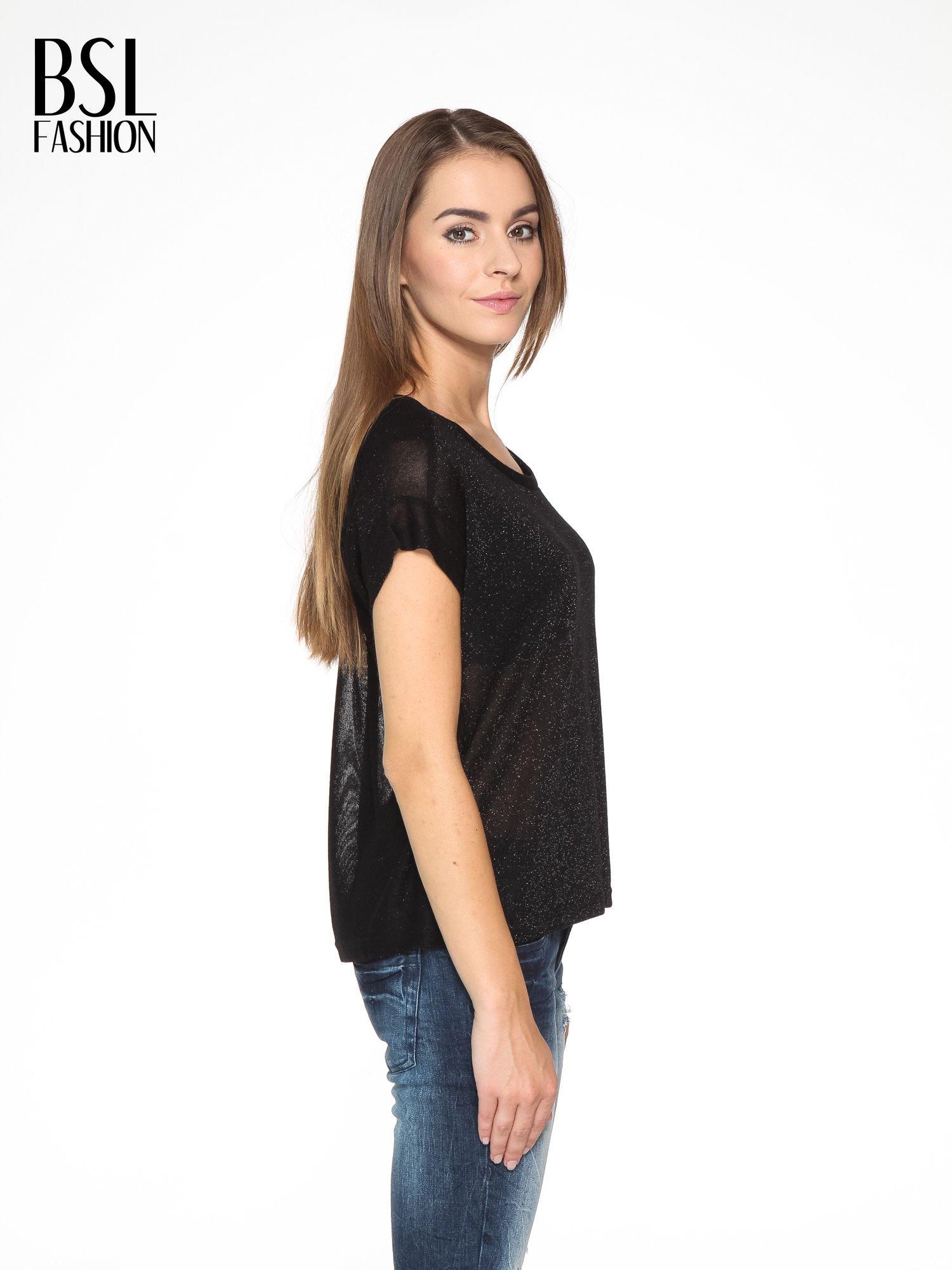 Czarny transparentny t-shirt przeplatany srebrną nicią                                  zdj.                                  3