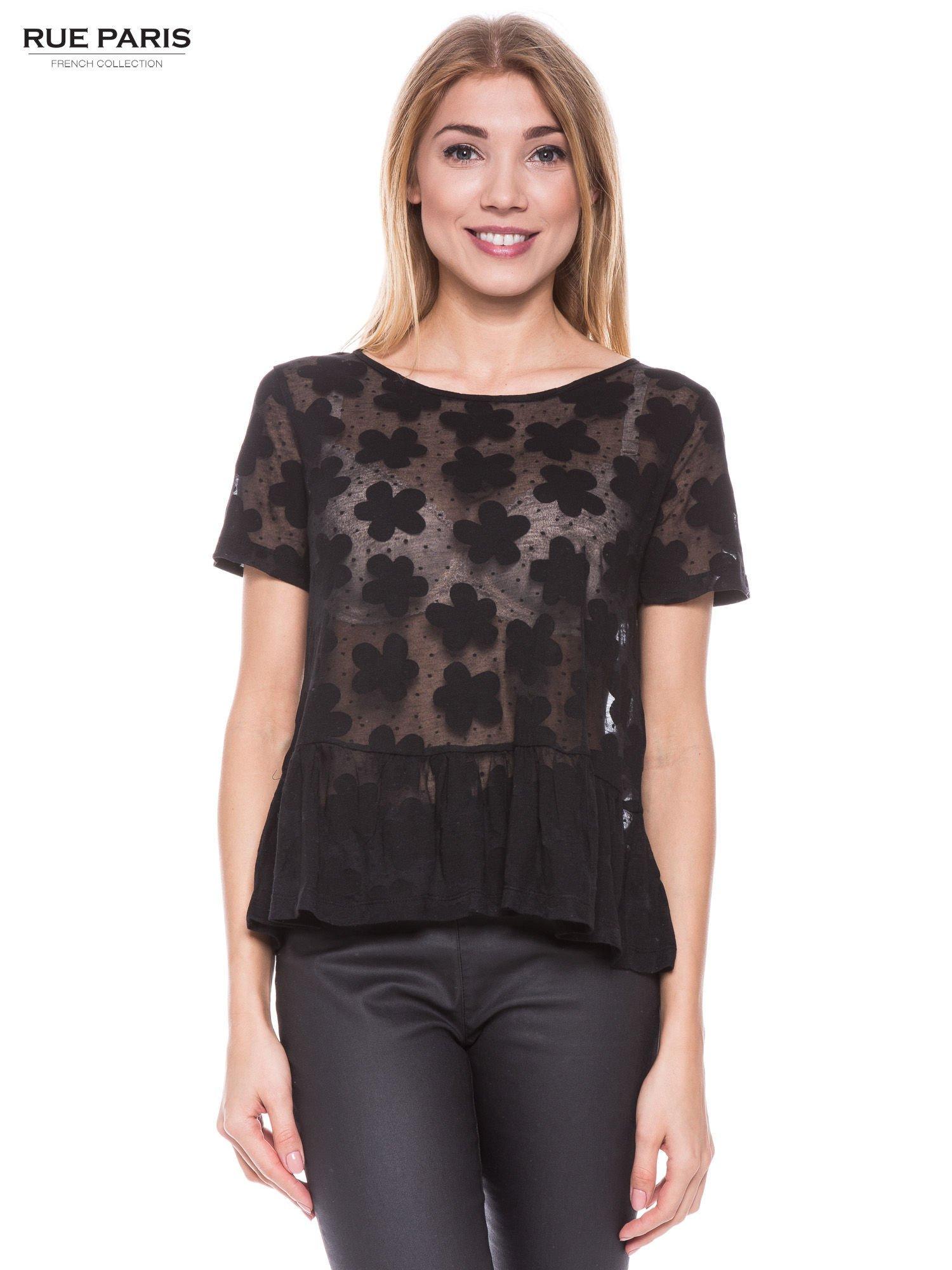 Czarny transparentny t-shirt w kwiaty z baskinką                                  zdj.                                  1