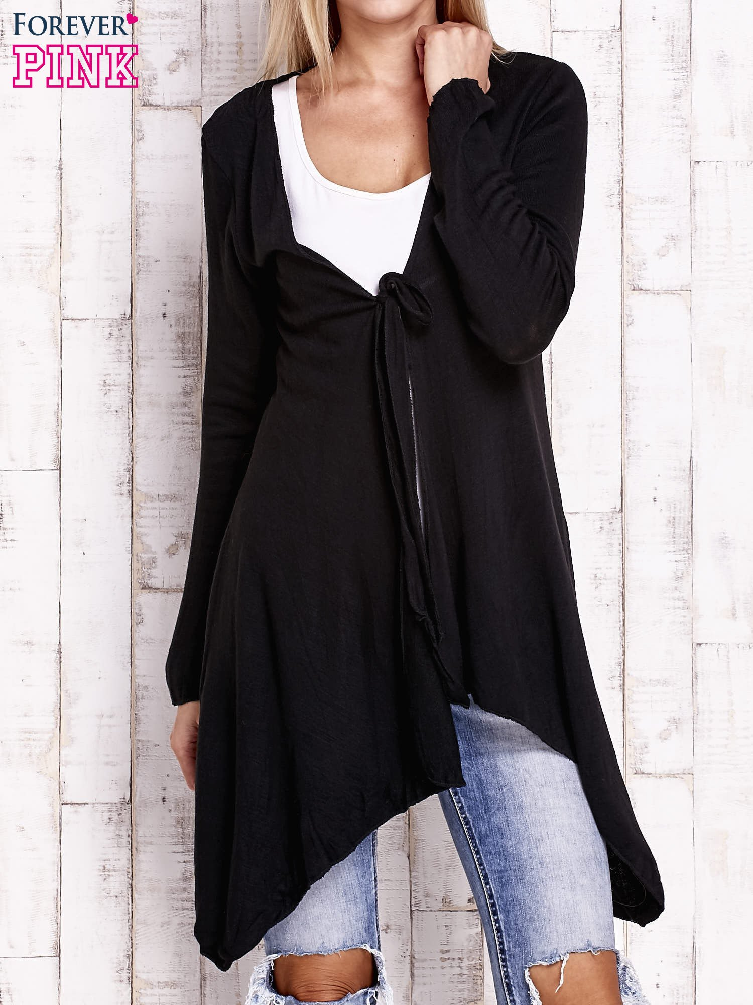 Czarny wiązany asymetryczny sweter                                  zdj.                                  1