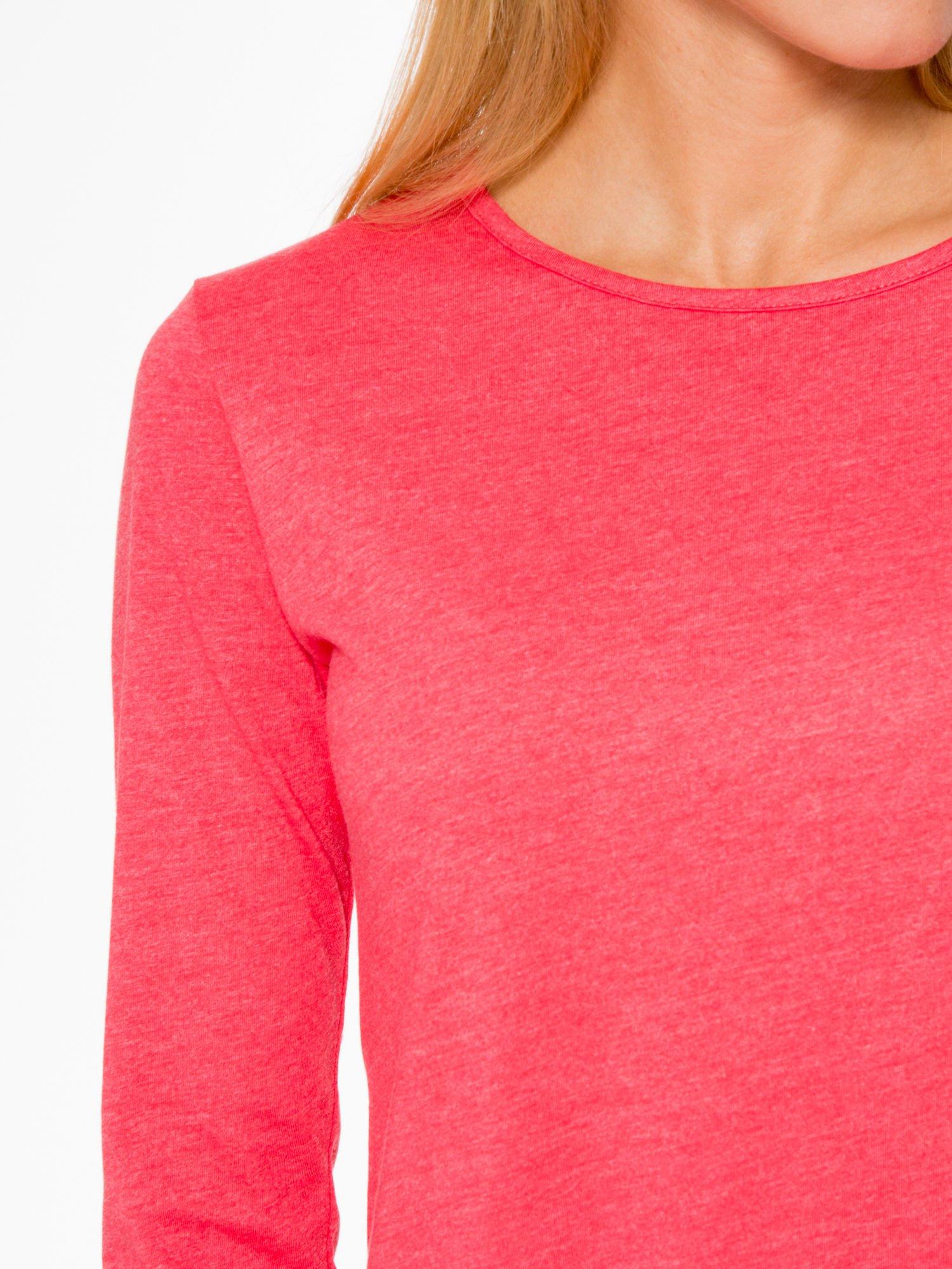 Czerwona basicowa bluzka z długim rękawem                                  zdj.                                  5