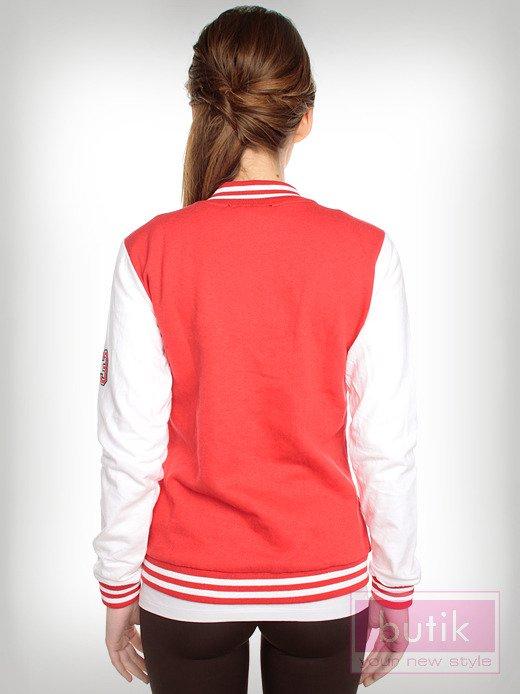Czerwona bluza bejsbolówka w stylu college                                  zdj.                                  2