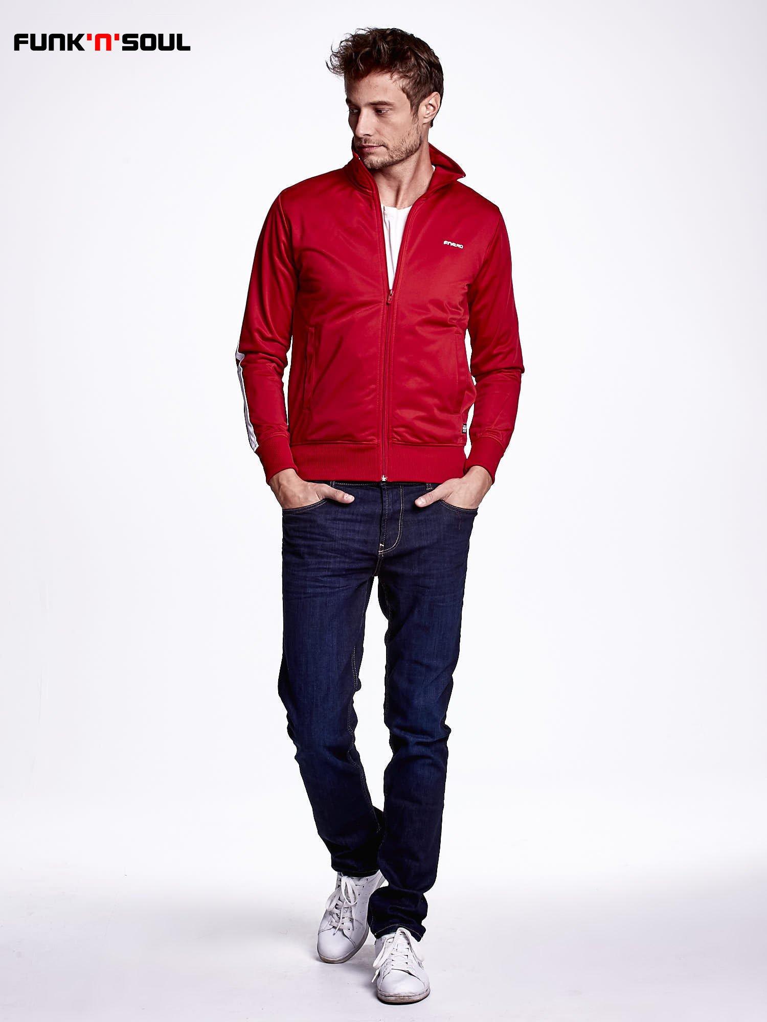 Czerwona bluza męska ze stójką FUNK N SOUL                                  zdj.                                  2