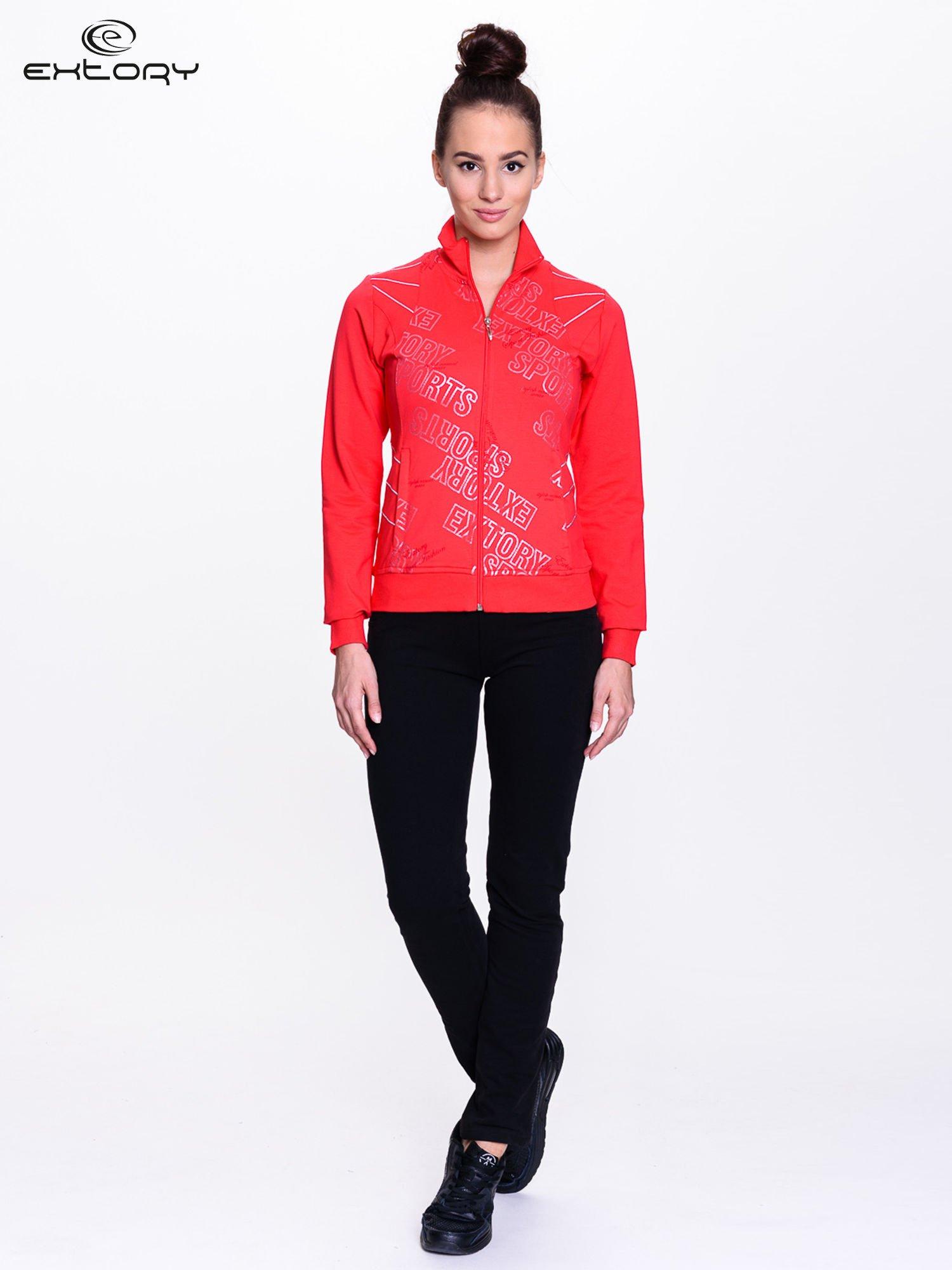 Czerwona bluza sportowa z logo EXTORY                                  zdj.                                  2