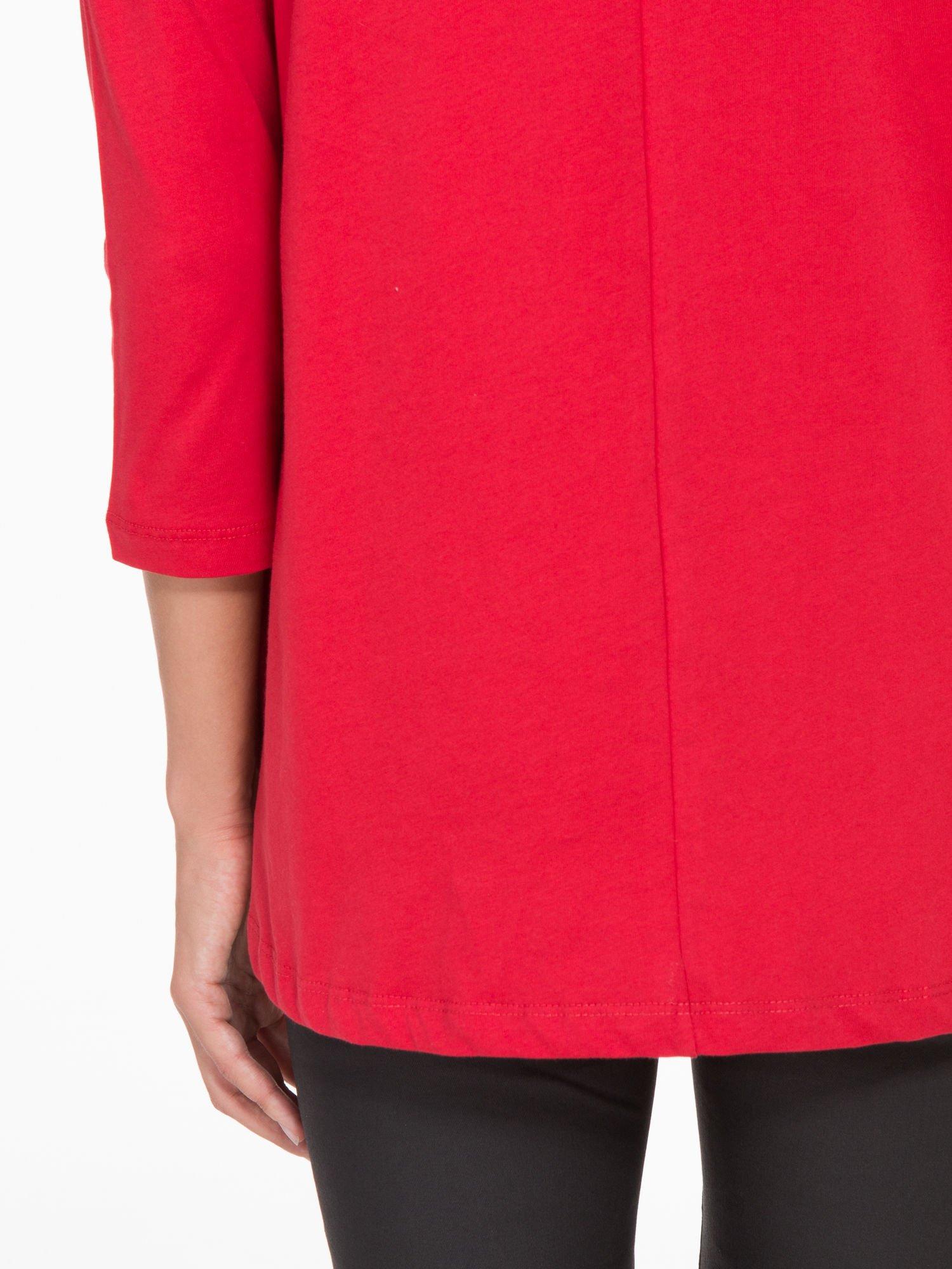 Czerwona bluzka o rozkloszowanym kroju z rękawem 3/4                                  zdj.                                  9