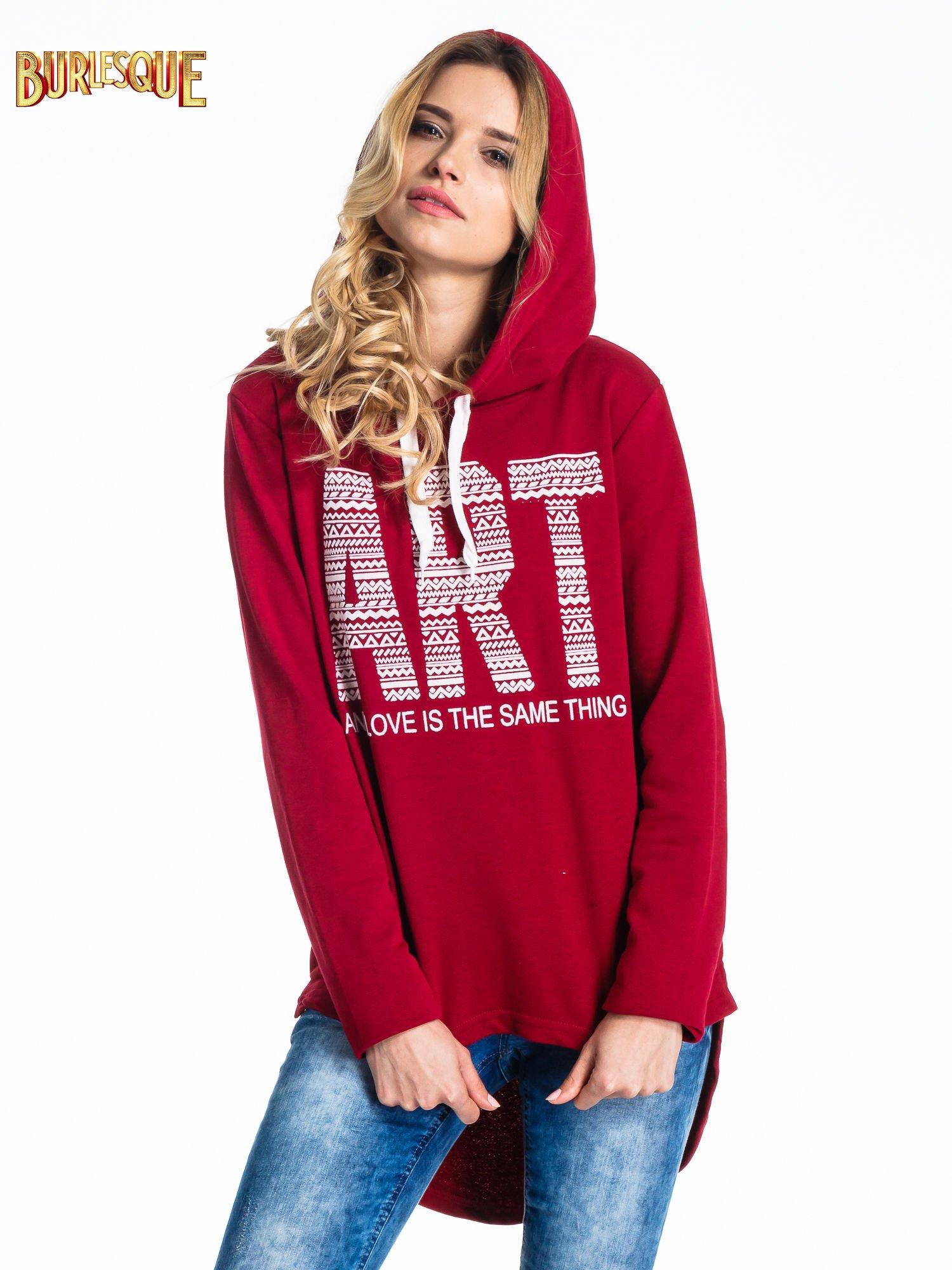 Czerwona damska bluza z kapturem i napisem ART                                  zdj.                                  5