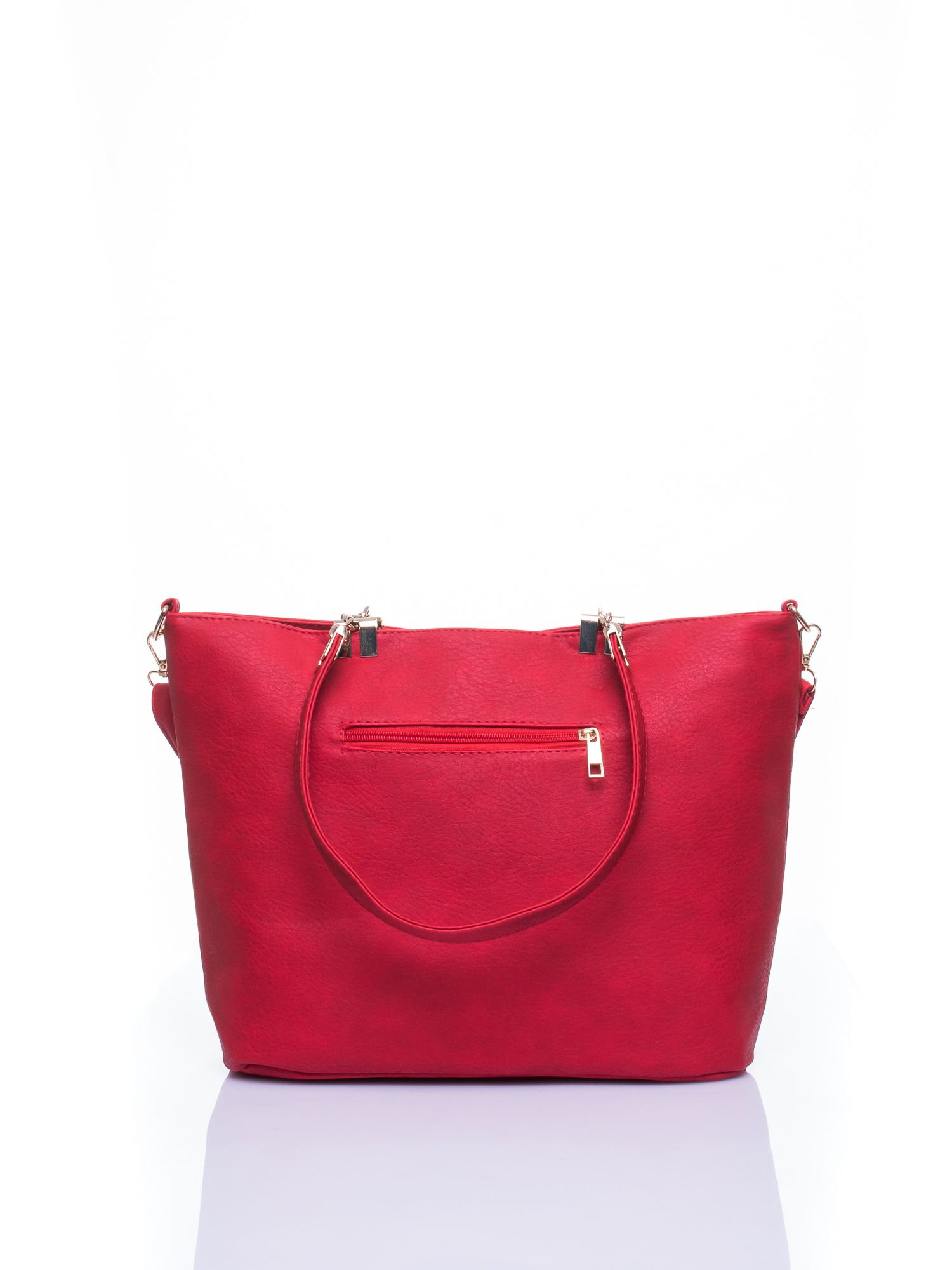 Czerwona fakturowana torebka damska ze złotymi okuciami                                  zdj.                                  3