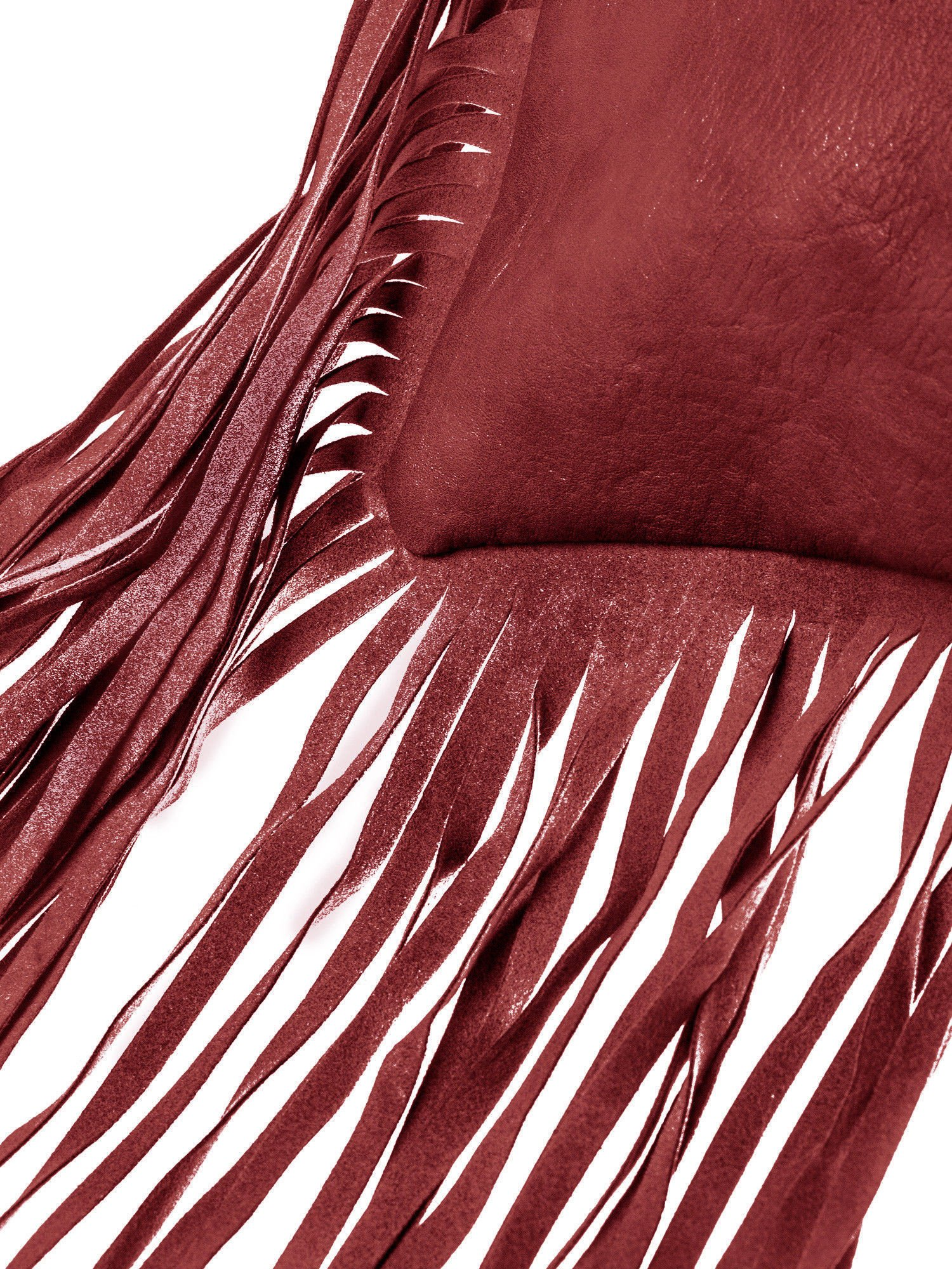 Czerwona kopertówka z frędzlami w stylu boho                                  zdj.                                  2