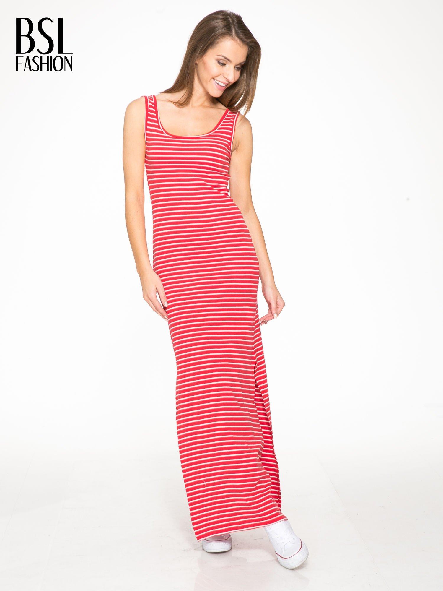c4f4bb75bf Czerwona prosta długa sukienka w paski z bawełny - Sukienka na co dzień -  sklep eButik.pl