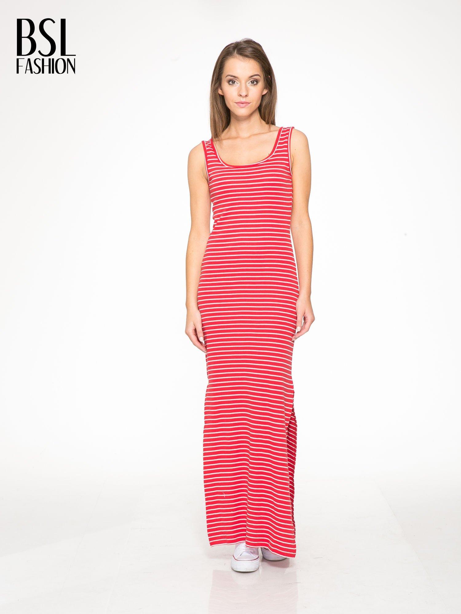 79b7dd9f1d Czerwona prosta długa sukienka w paski z bawełny - Sukienka na co ...