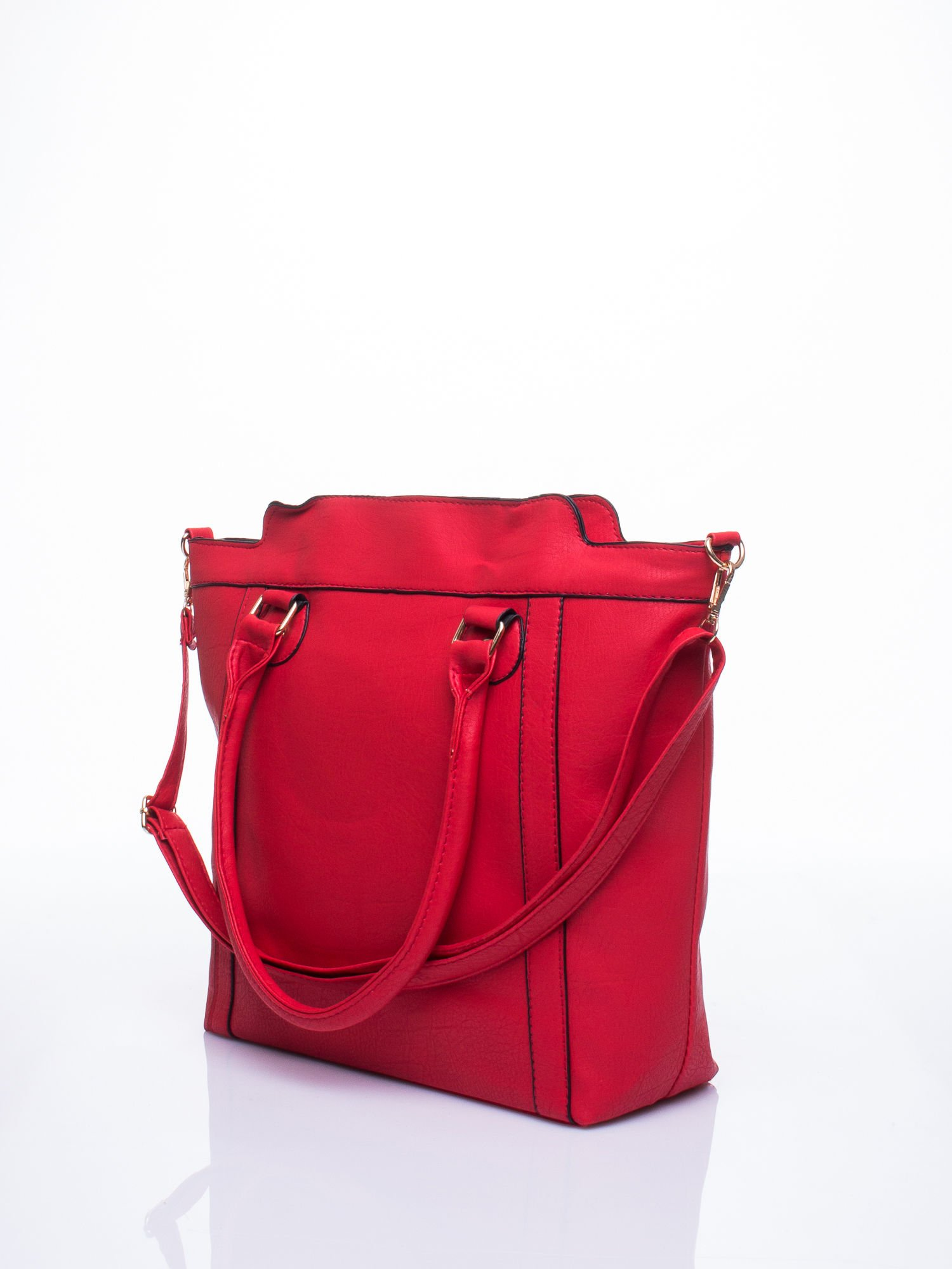 Czerwona torba miejska z odpinanym paskiem                                  zdj.                                  4