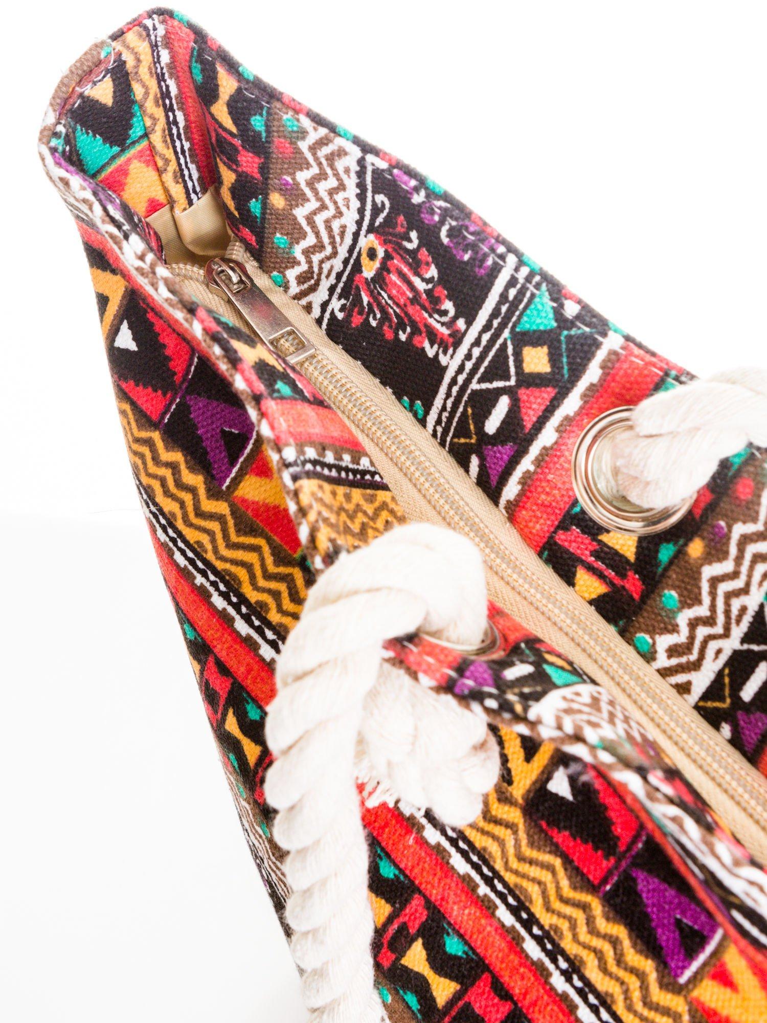 Czerwona torba plażowa w azteckie wzory                                  zdj.                                  5