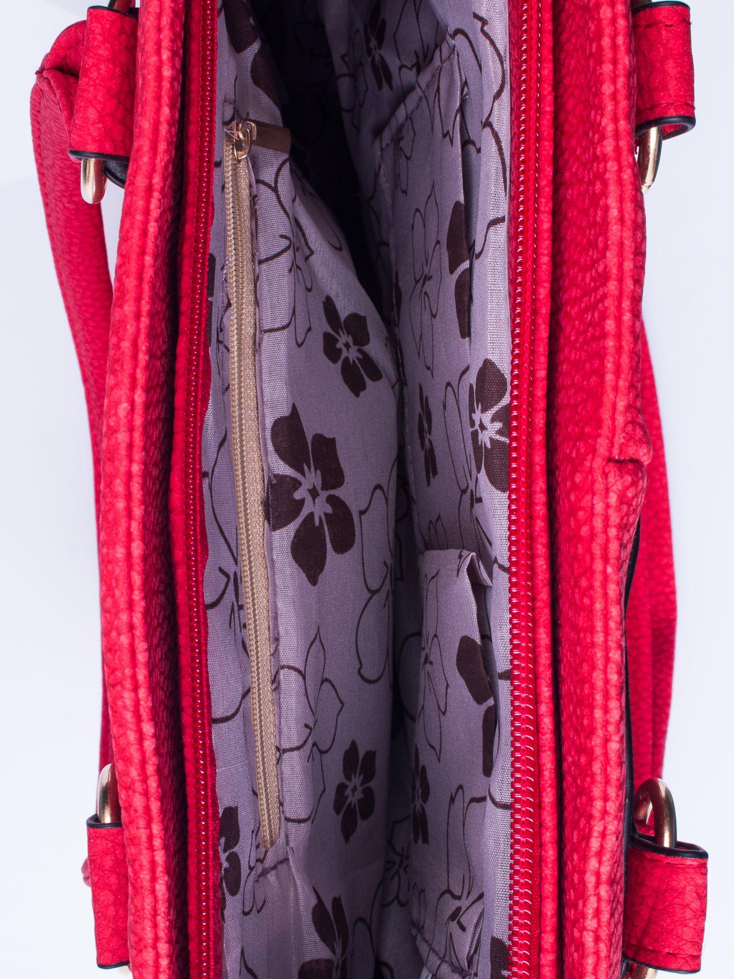 Czerwona torba shopper bag z suwakiem                                  zdj.                                  4