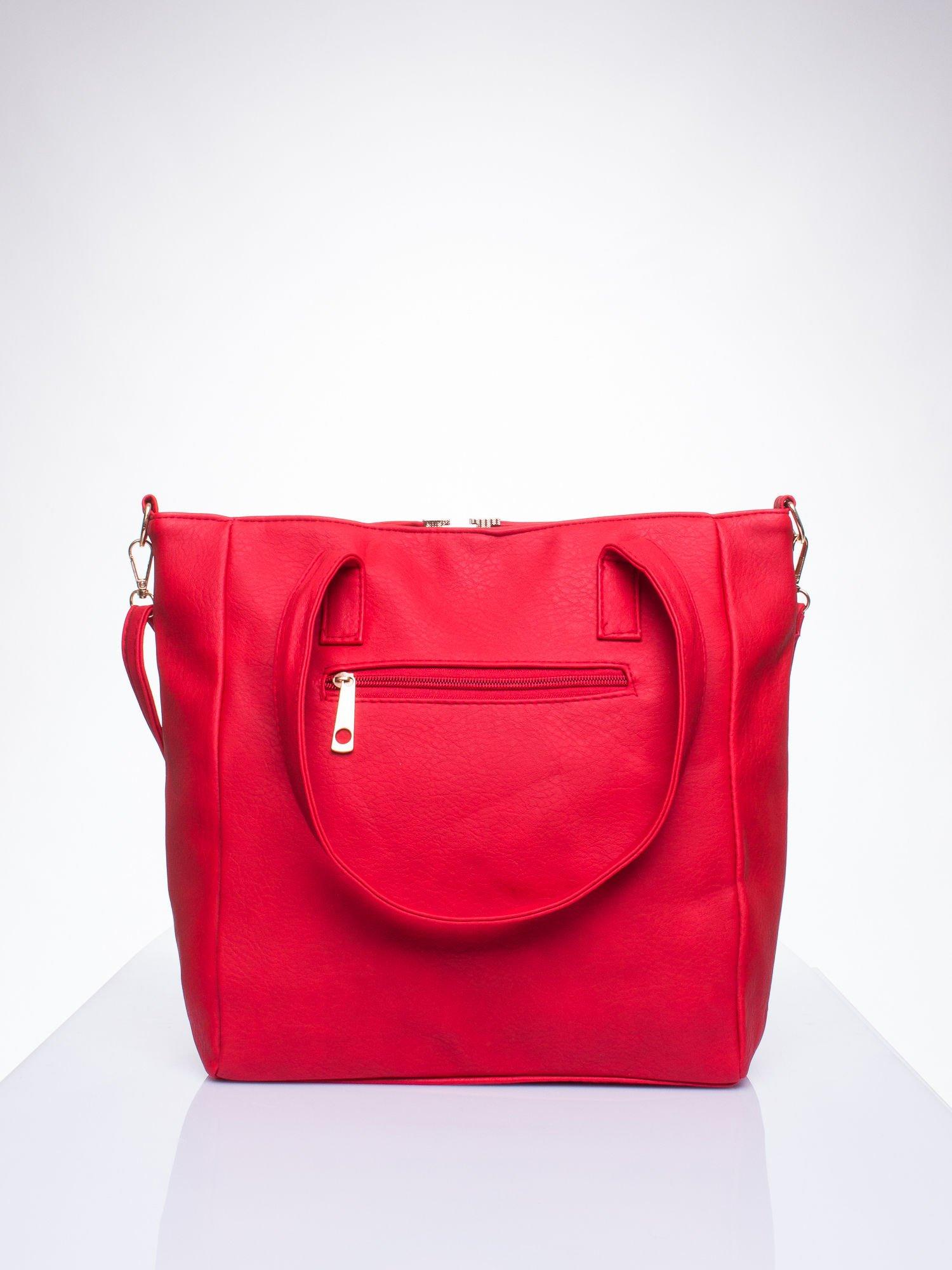 Czerwona torba shopper bag ze kieszeniami na klapki                                  zdj.                                  3