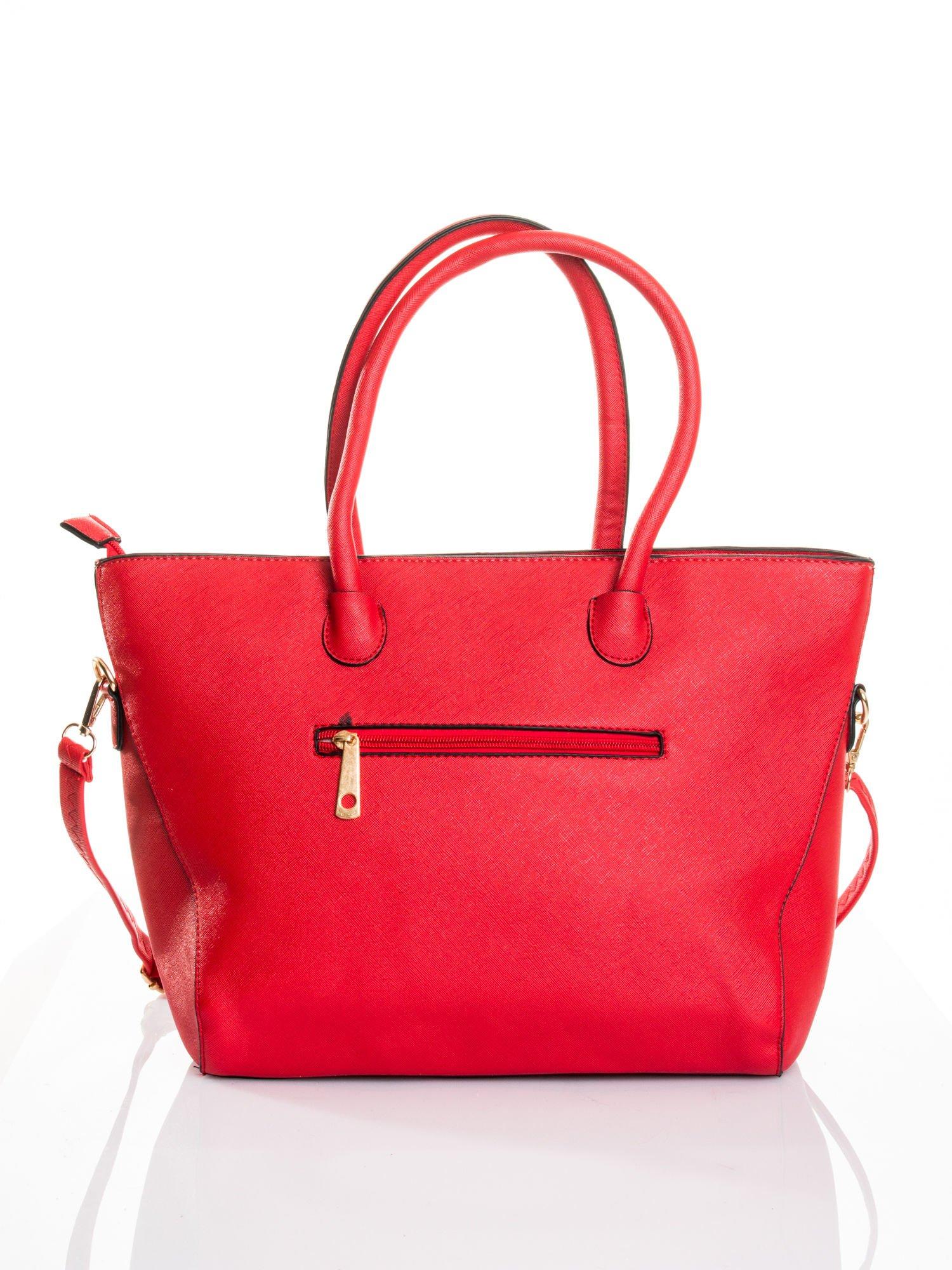 Czerwona torba shopper efekt saffiano                                  zdj.                                  2