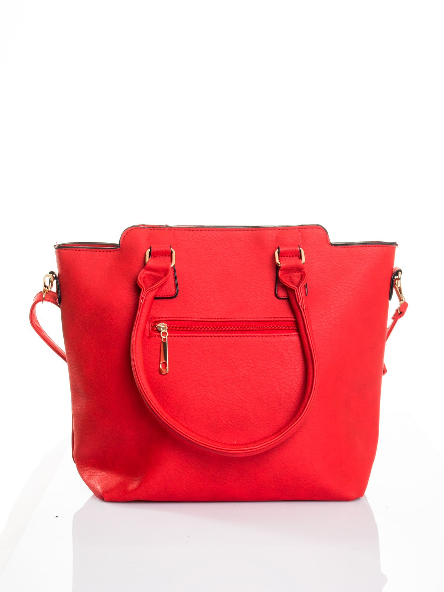 Czerwona torba ze złotymi wykończeniami                                  zdj.                                  2