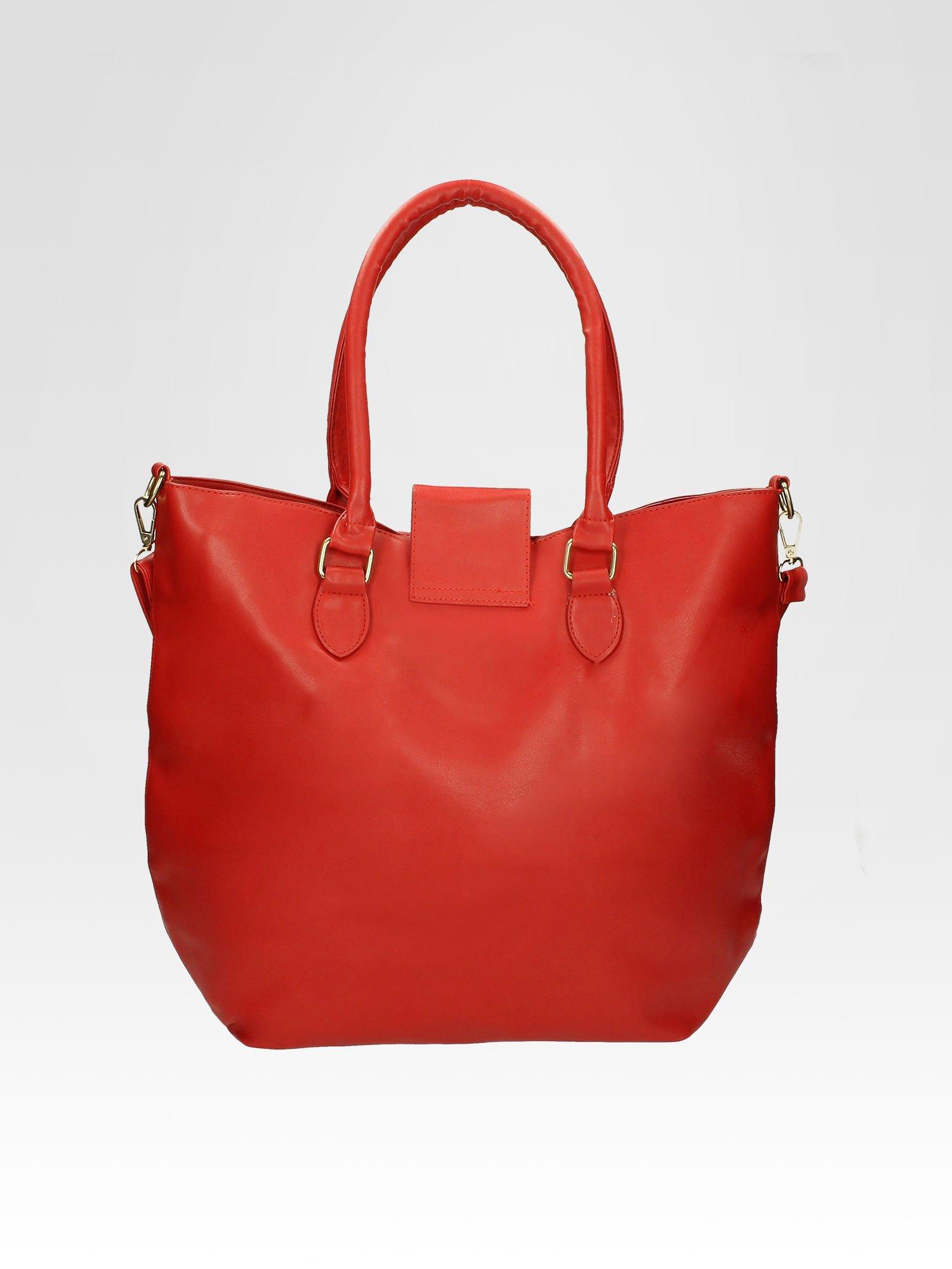 Czerwona torebka city bag z zatrzaskiem                                  zdj.                                  4