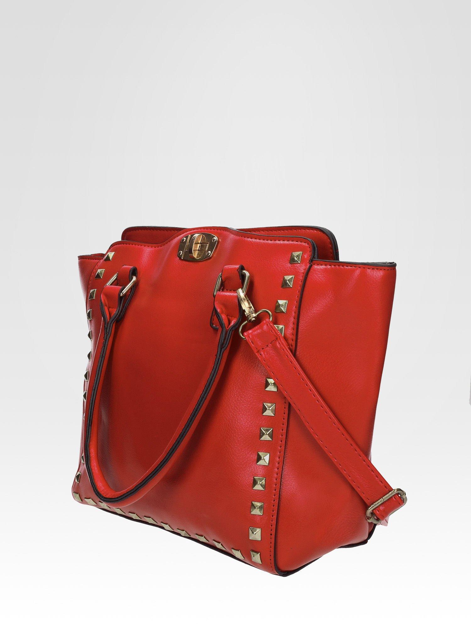 Czerwona torebka na ramię z dżetami                                  zdj.                                  2