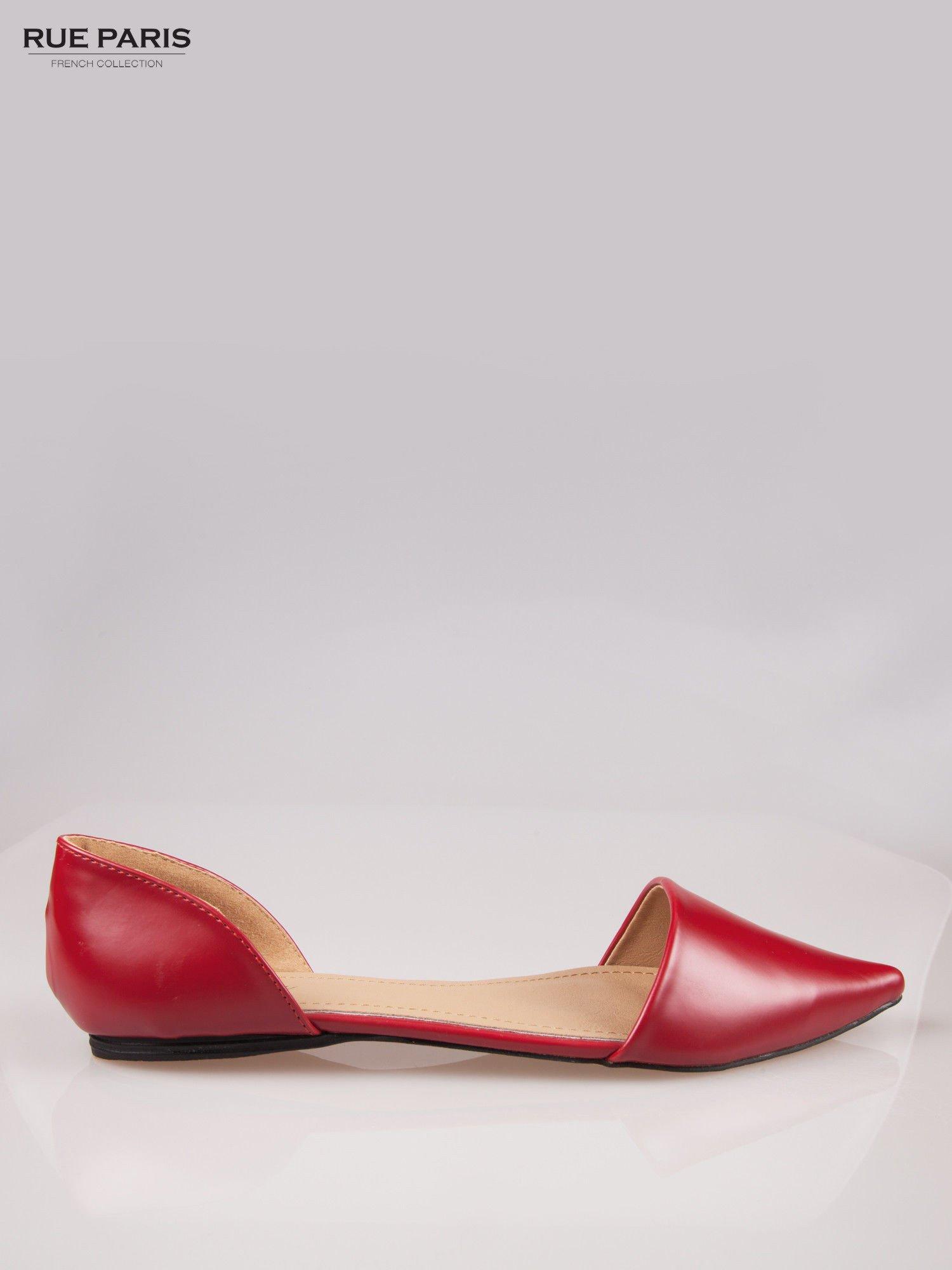 Czerwone baleriny faux leather Tiffany z wyciętymi bokami                                  zdj.                                  1