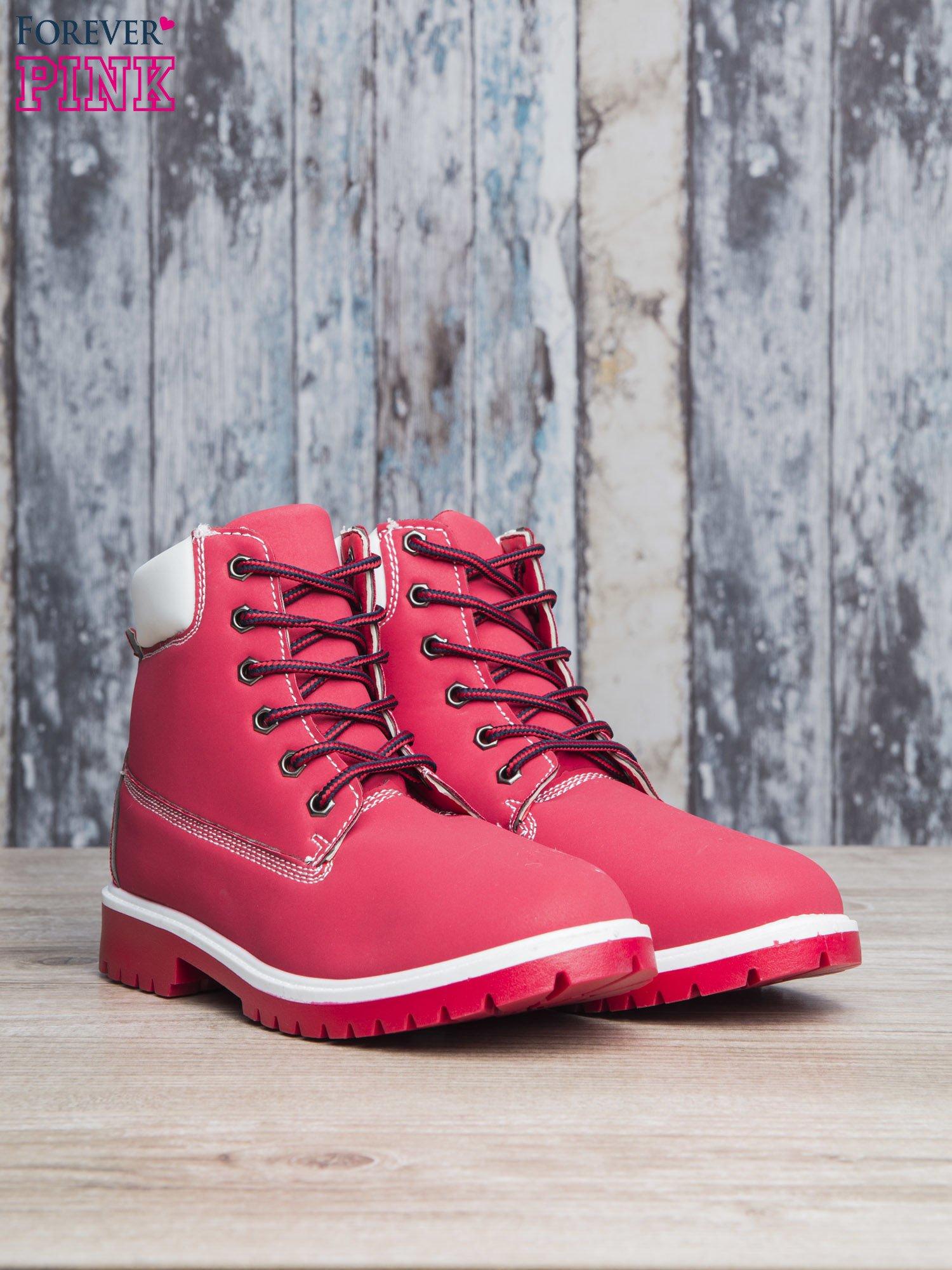 Czerwone buty trekkingowe Lorion damskie traperki                                   zdj.                                  3