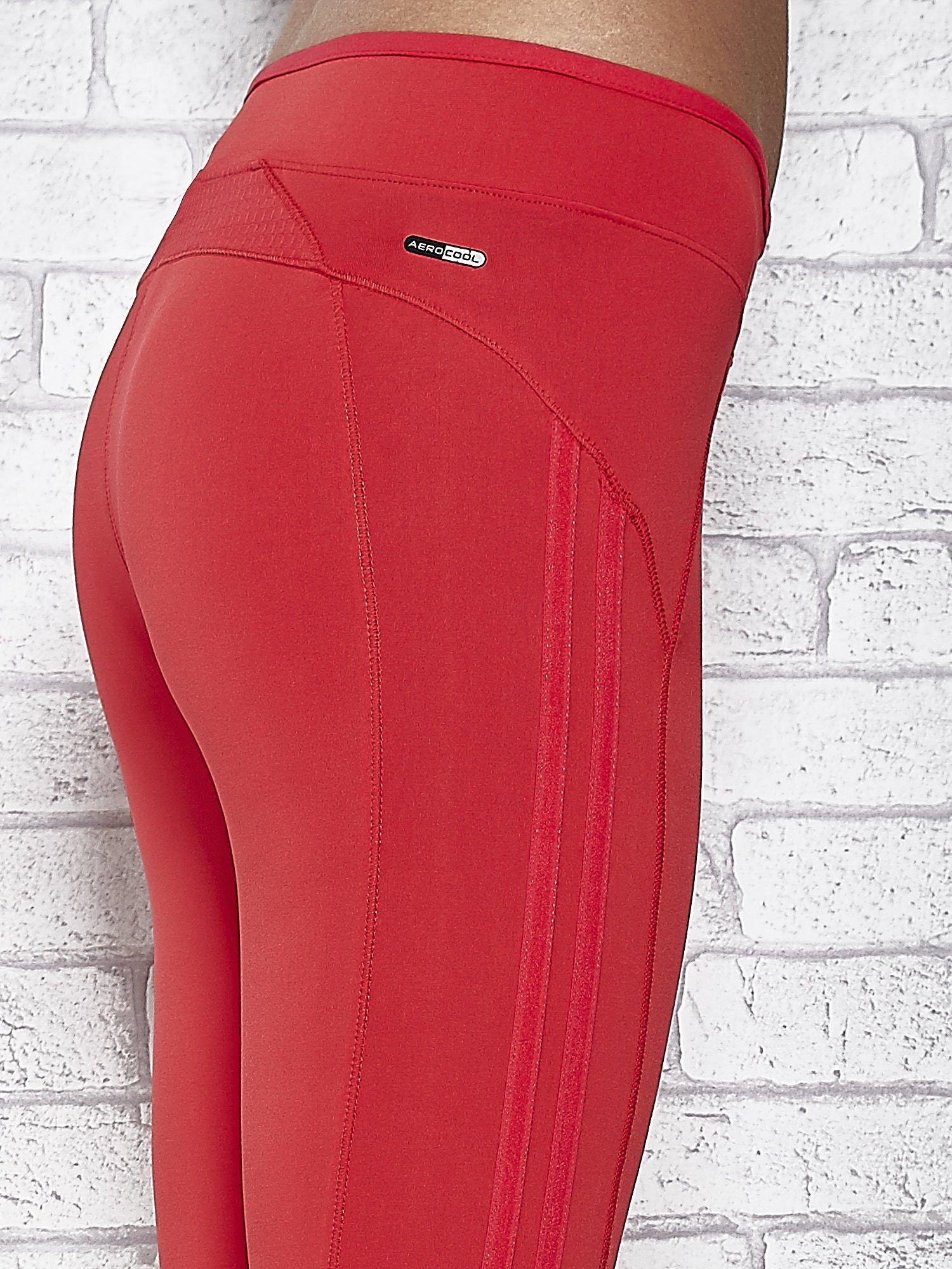 Czerwone legginsy 3/4 sportowe termalne z lampasami                                  zdj.                                  5