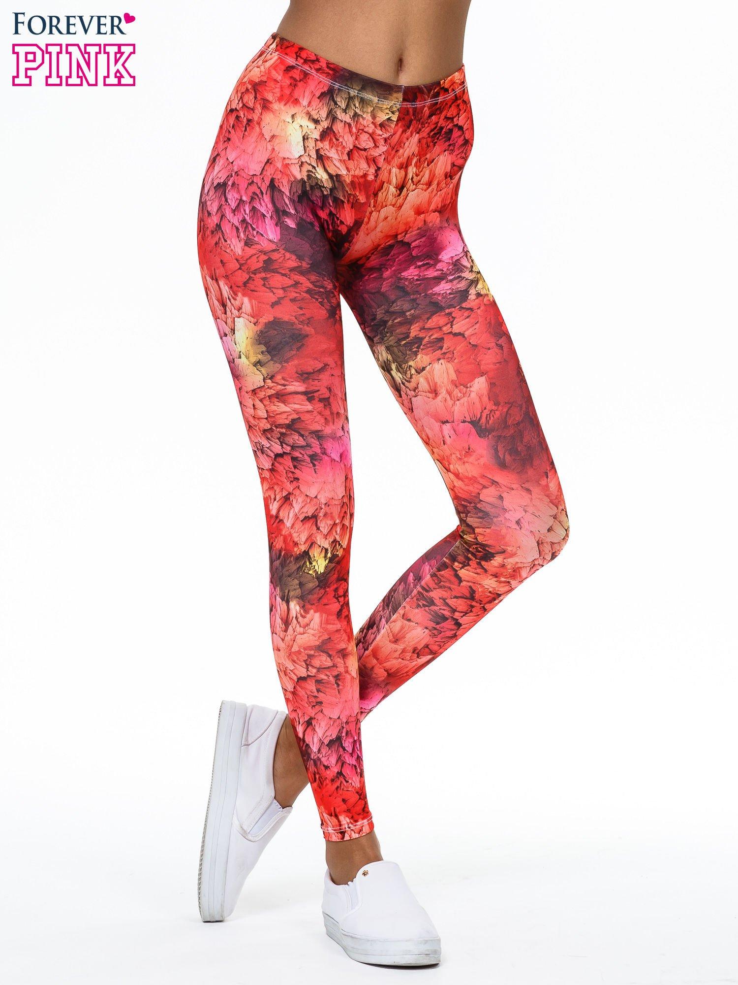 Czerwone legginsy w graficzne wzory                                  zdj.                                  1